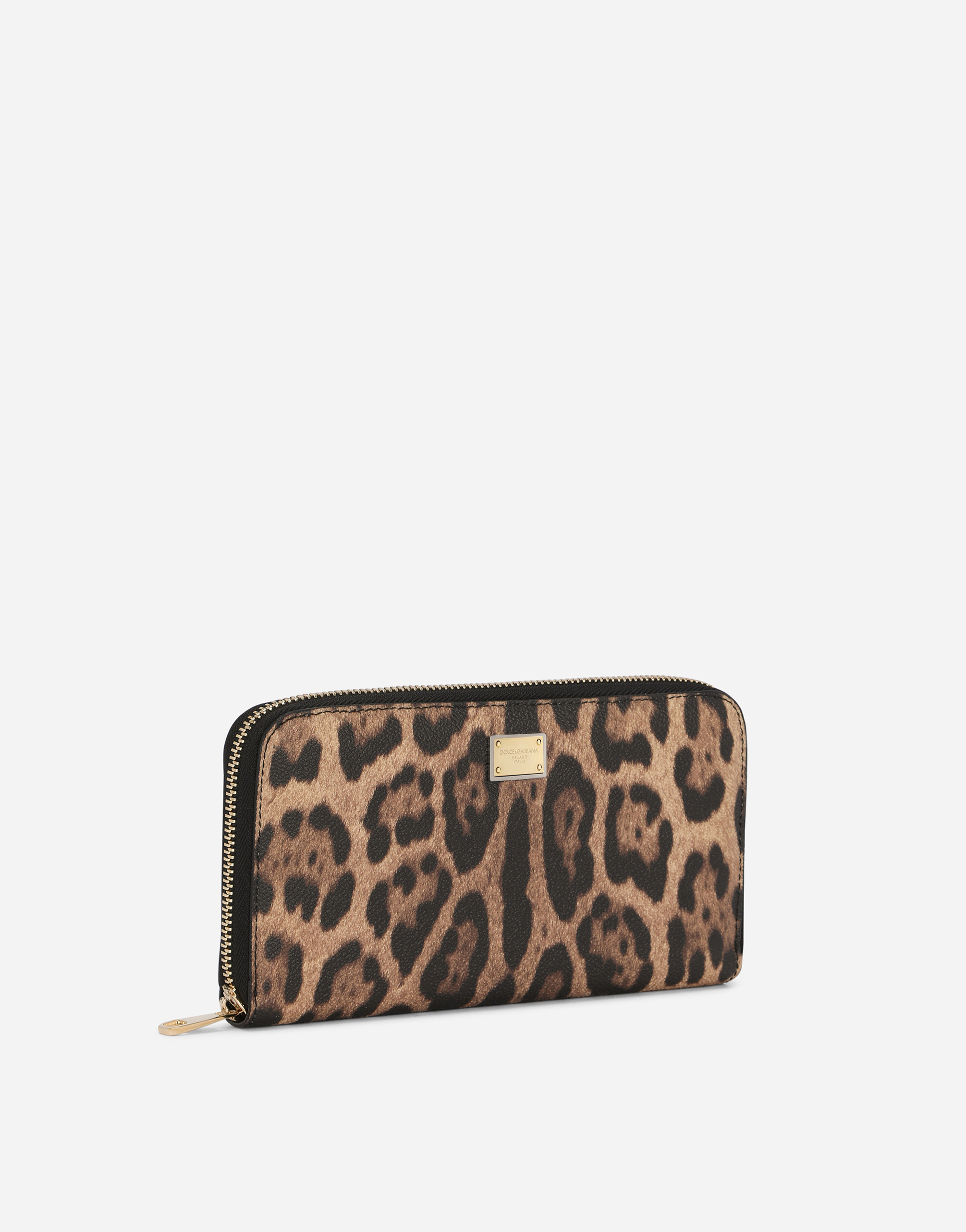 ZIP-AROUND WALLET IN LEOPARD TEXTURED LEATHER
