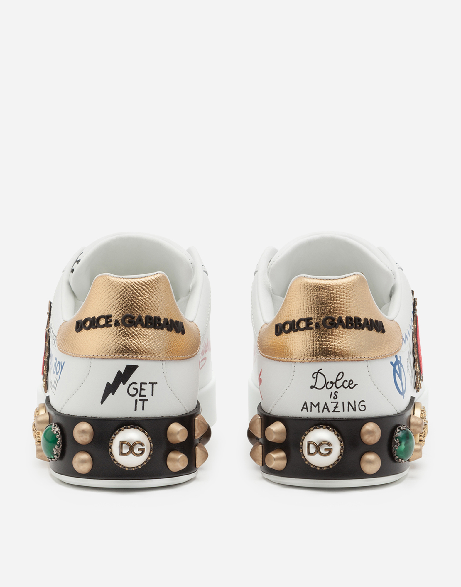 PRINTED LEATHER SNEAKERS WITH EMBELLISHMENTS