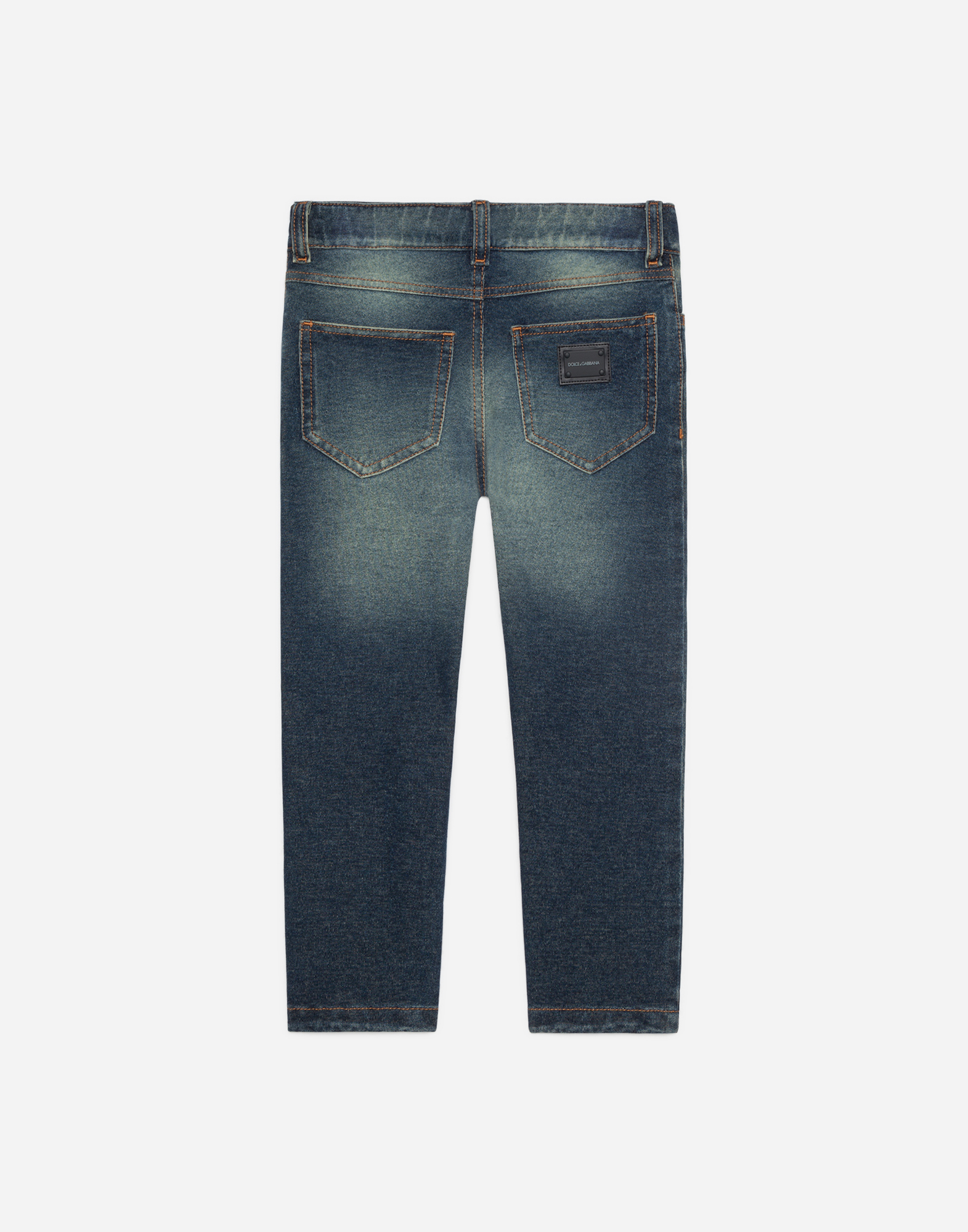 STRETCH JEANS WITH LOGOED PLATE