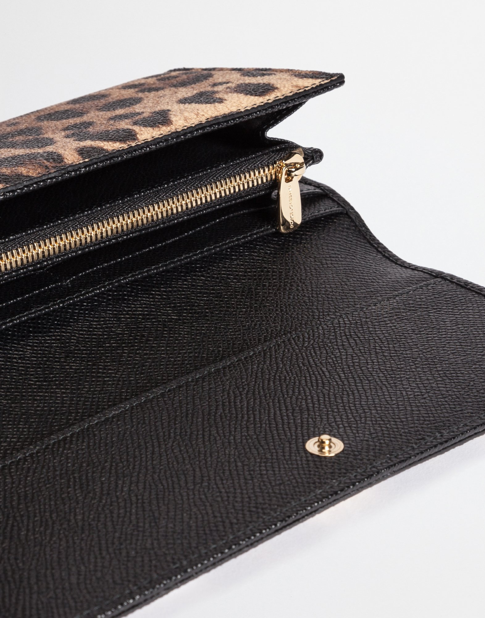 Dolce&Gabbana CONTINENTAL WALLET IN LEOPARD TEXTURED LEATHER