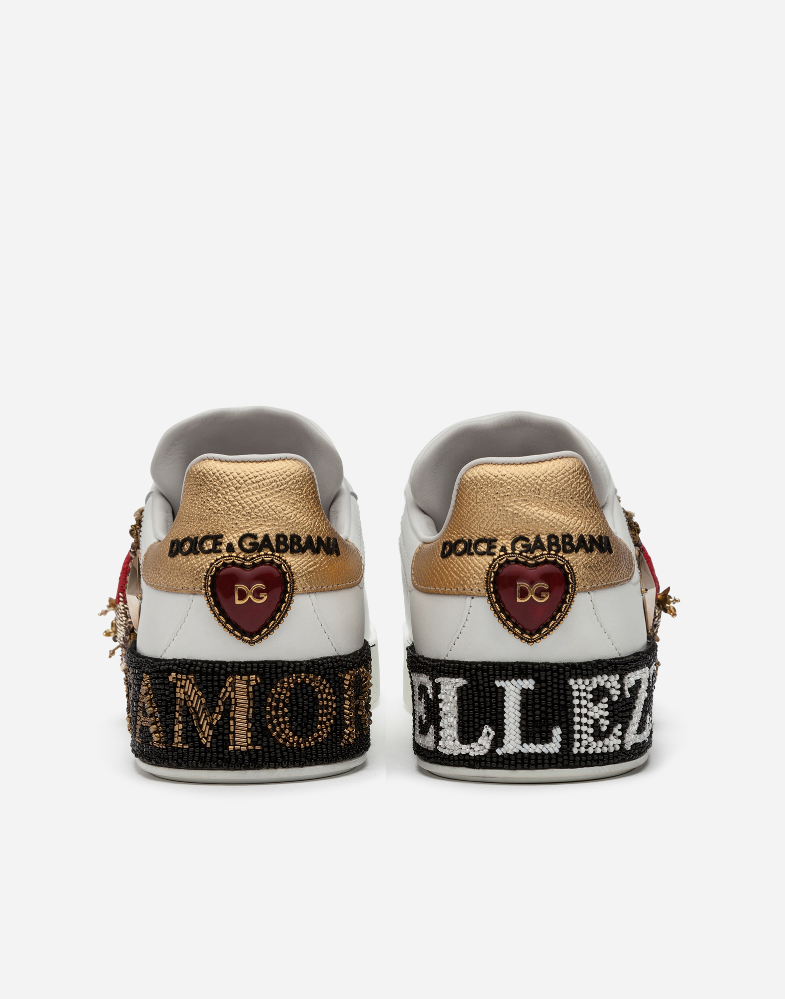 Dolce & Gabbana CALFSKIN PORTOFINO SNEAKERS WITH EMBROIDERY AND APPLIQUÉS