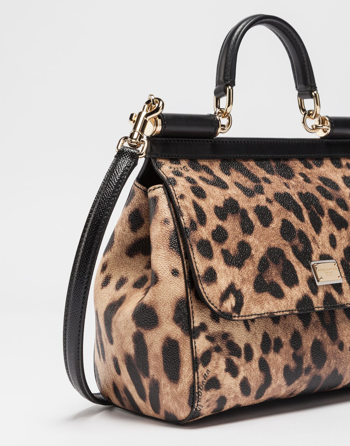MEDIUM SICILY BAG IN LEOPARD TEXTURED LEATHER