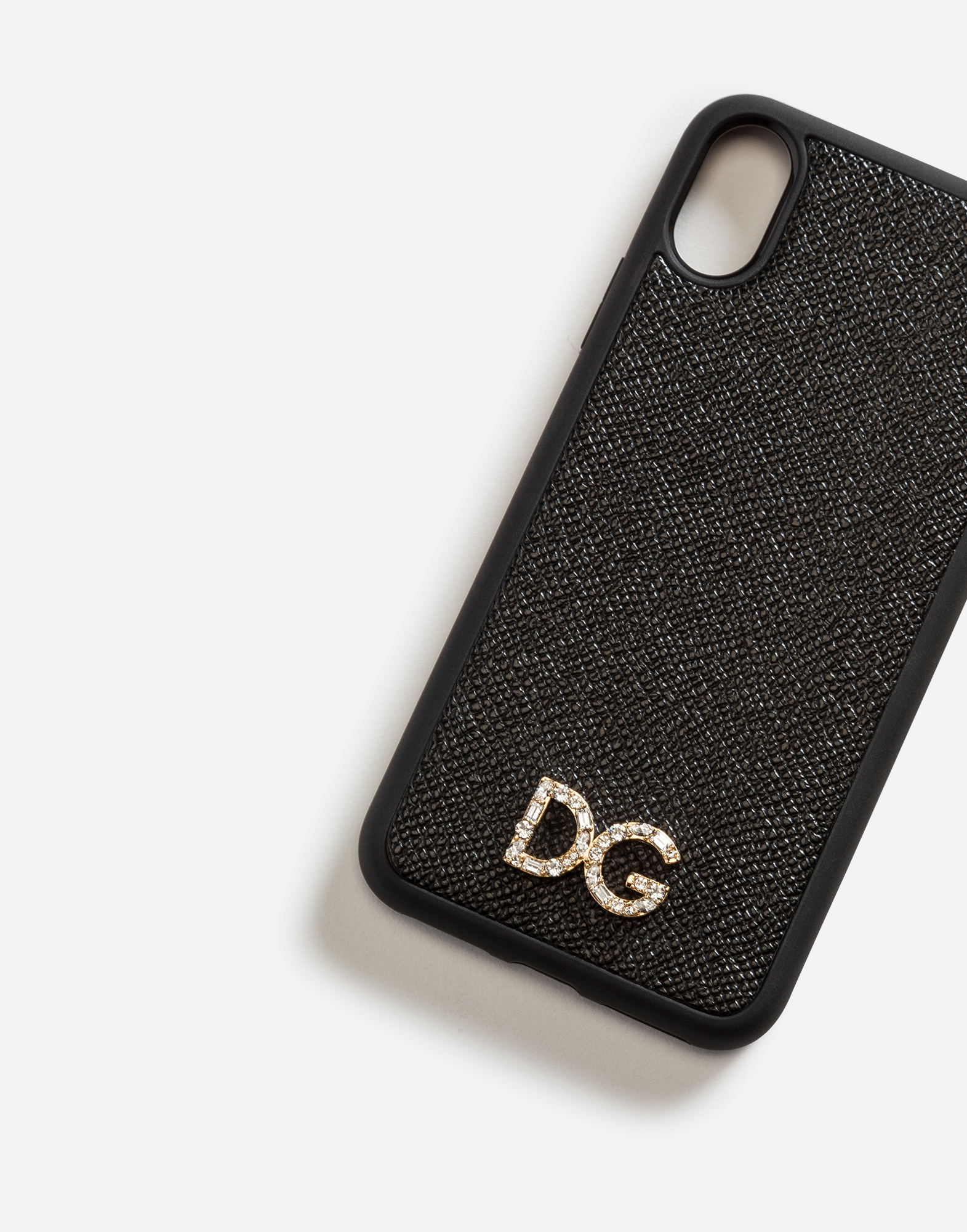 IPHONE X COVER WITH DAUPHINE CALFSKIN DETAIL AND DG CRYSTAL LOGO