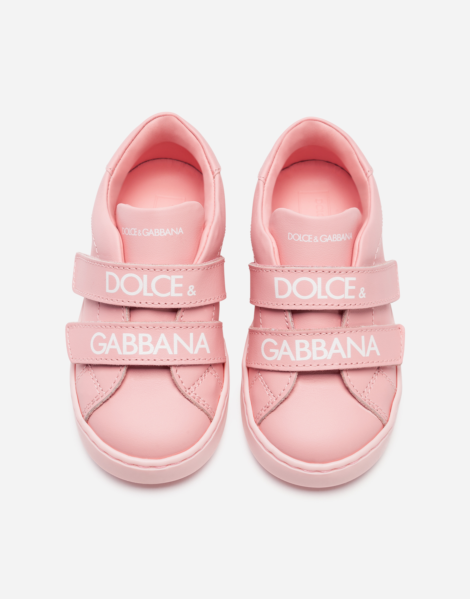 Dolce & Gabbana FIRST STEPS PORTOFINO SNEAKERS IN BRANDED NAPPA LEATHER