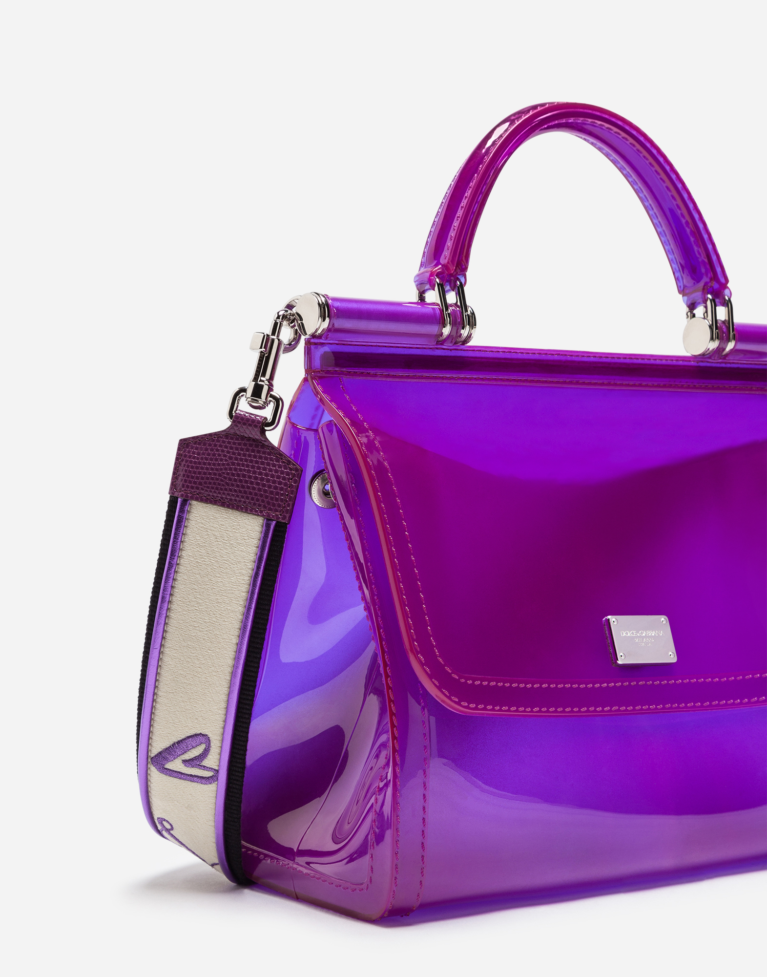 SEMI-TRANSPARENT RUBBER SICILY HANDBAG