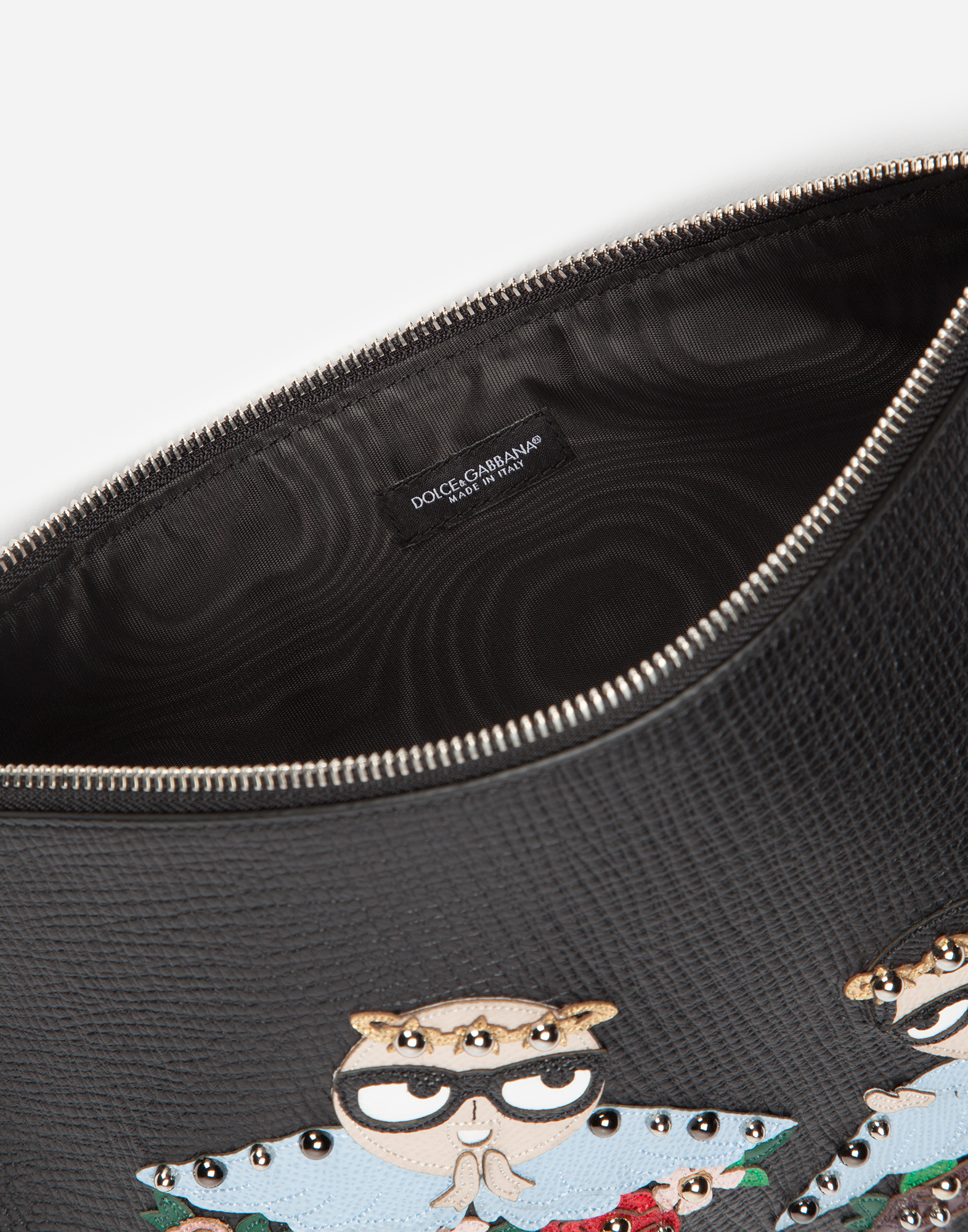 DOCUMENT HOLDER IN CALFSKIN WITH DESIGNERS' PATCH EMBROIDERY