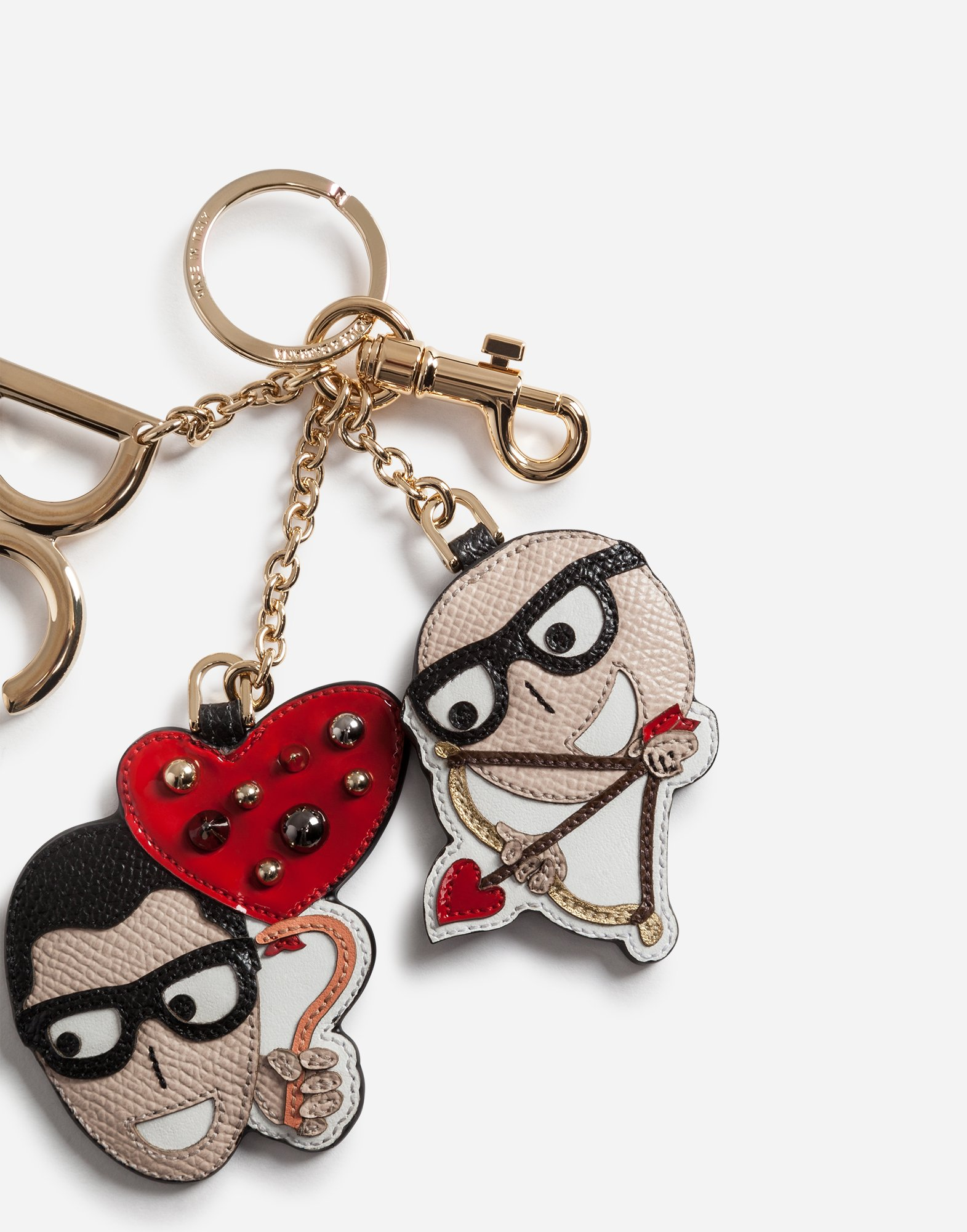 Dolce & Gabbana KEYCHAIN IN DAUPHINE CALFSKIN WITH DESIGNERS' PATCHES