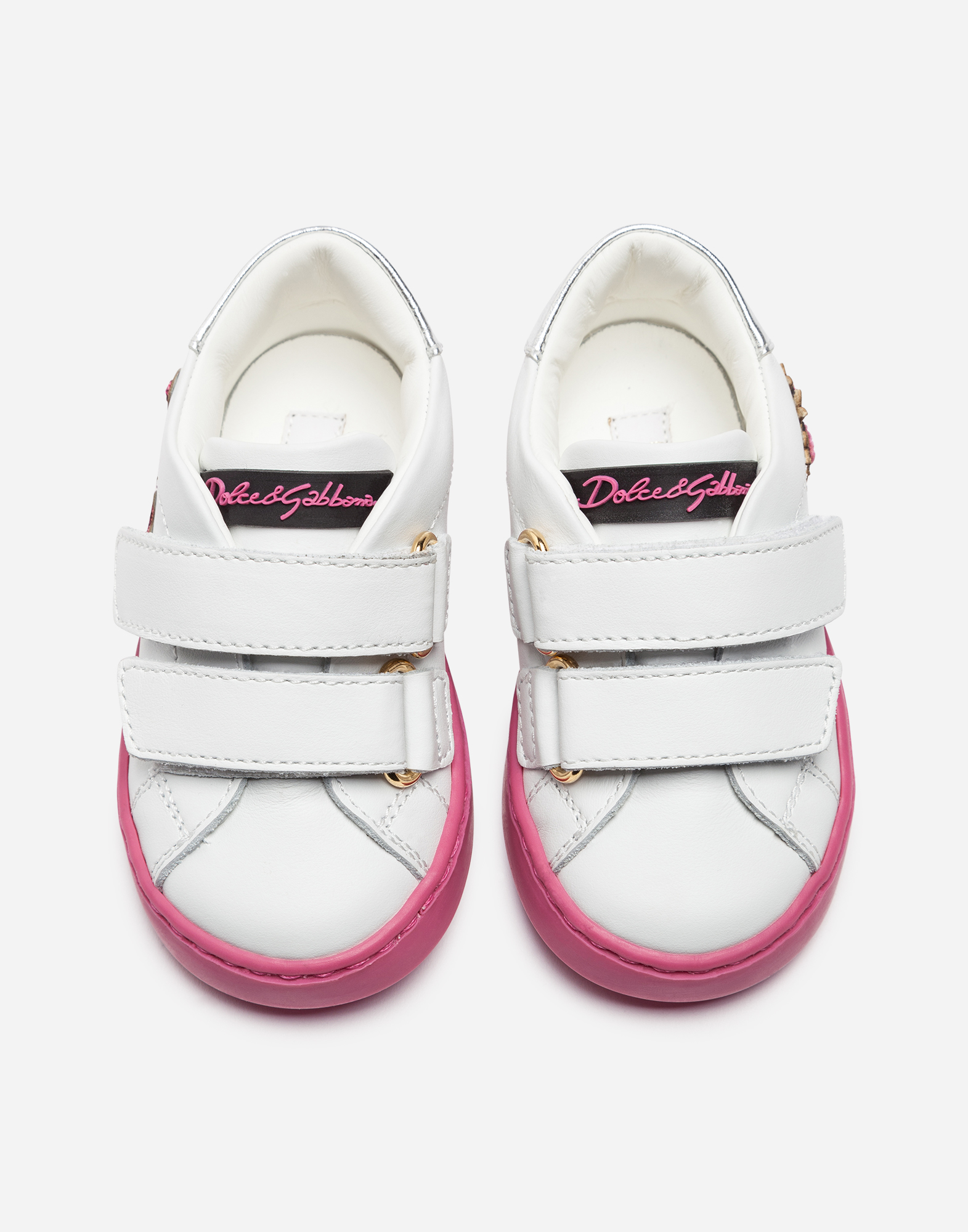 Dolce & Gabbana FIRST STEPS LEATHER SNEAKERS WITH PATCHES