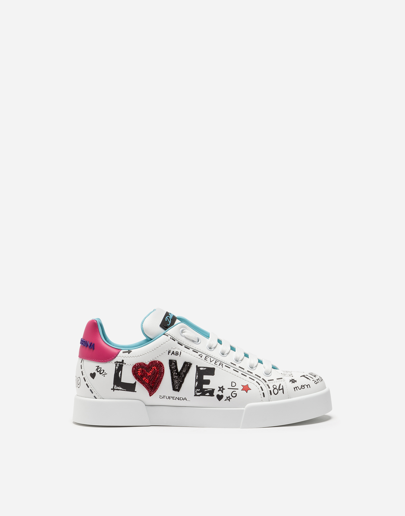 Dolce&Gabbana PRINTED CALFSKIN PORTOFINO SNEAKERS WITH PATCH