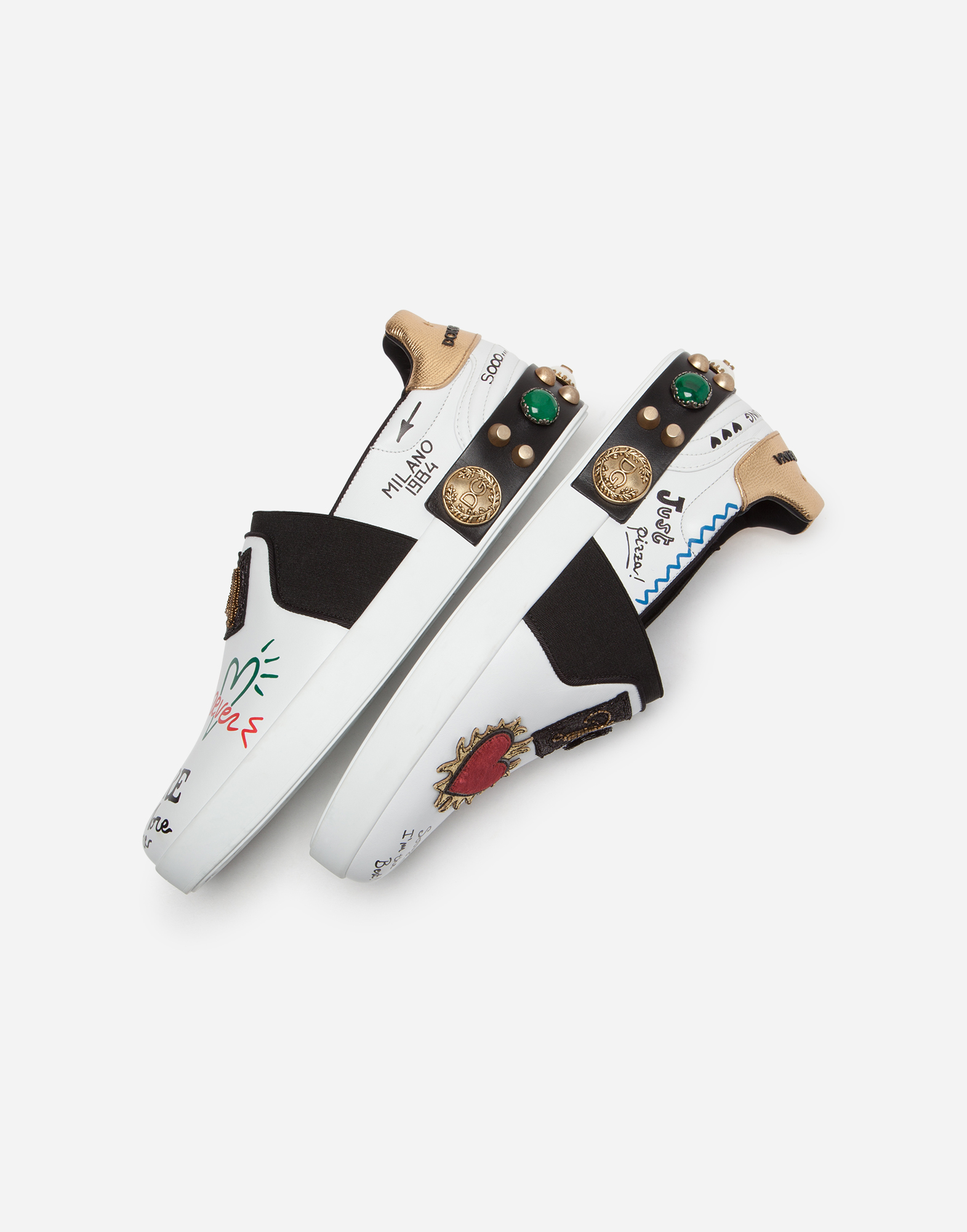 SLIP-ON PORTOFINO SNEAKERS IN PRINTED CALFSKIN WITH APPLIQUÉS