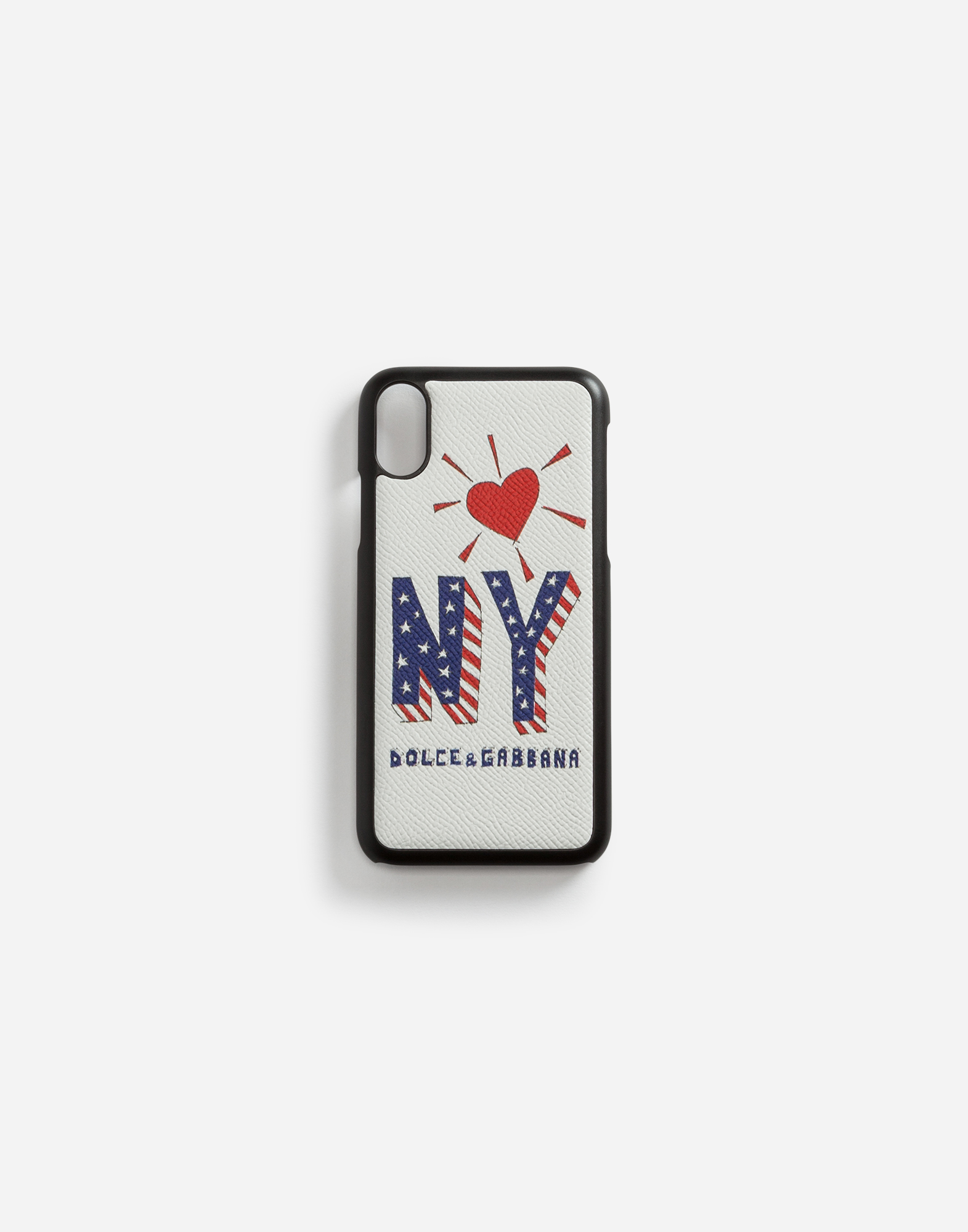 IPHONE X COVER WITH PRINTED DAUPHINE CALFSKIN DETAIL