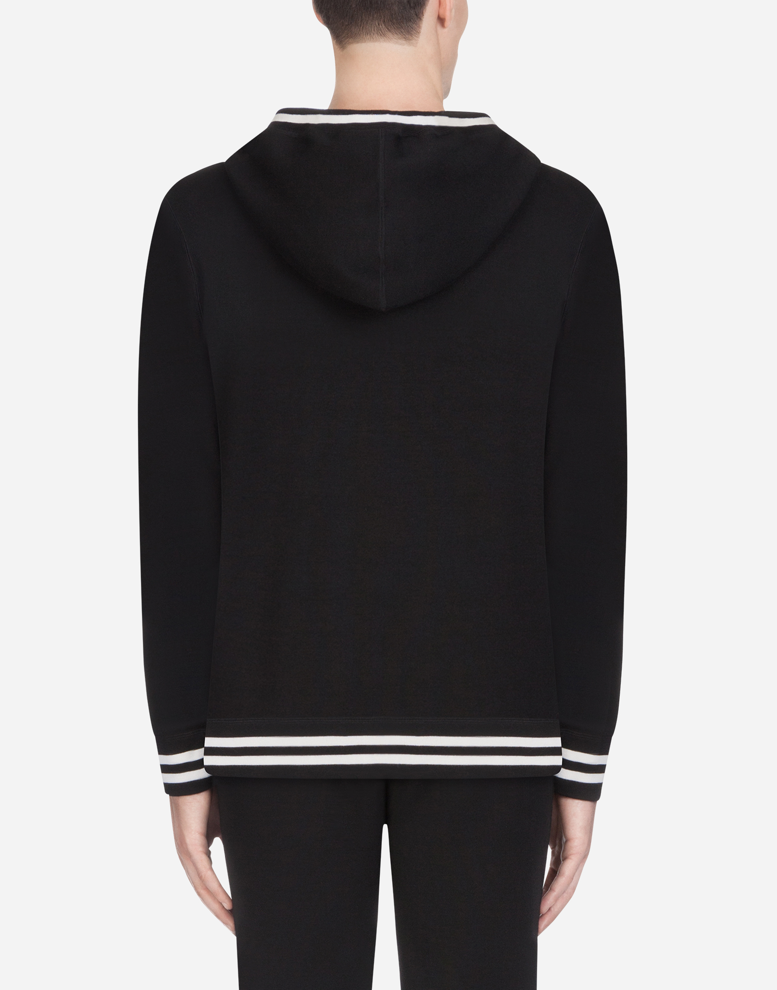Dolce & Gabbana WOOL KNIT WITH HOOD AND EMBROIDERY