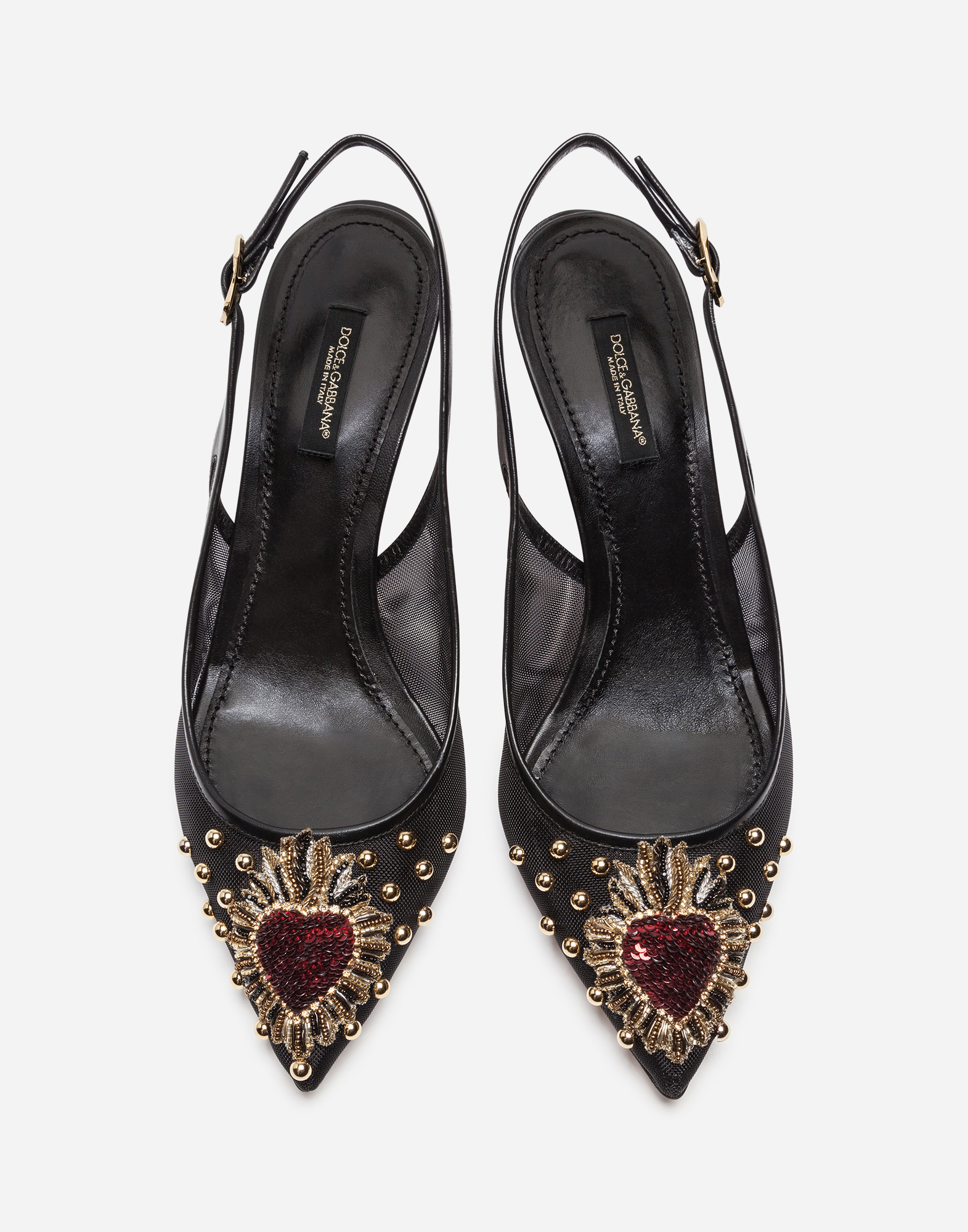 Dolce&Gabbana MESH SLINGBACK WITH EMBROIDERY AND APPLIQUÉS
