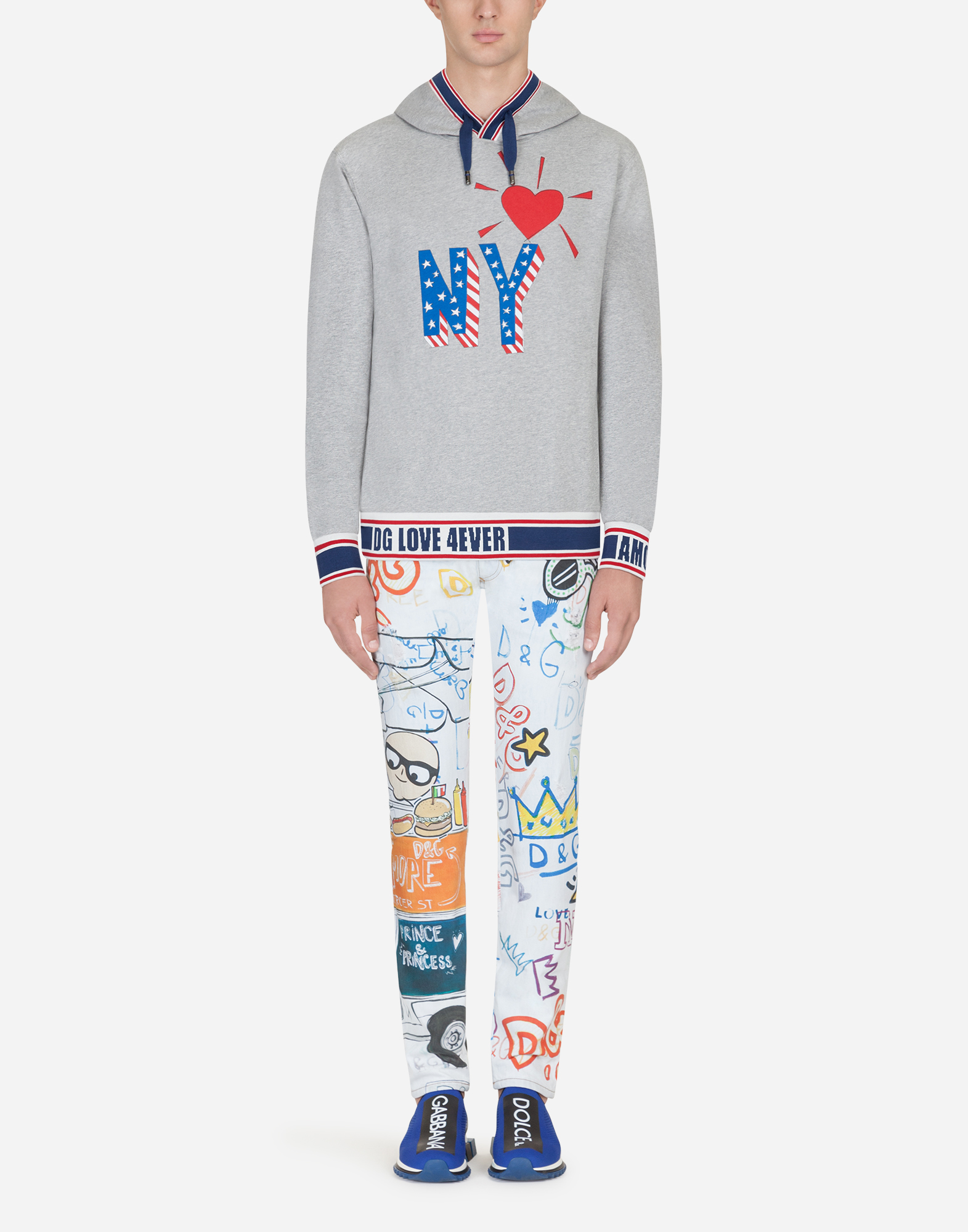 PRINTED SKINNY FIT STRETCH JEANS
