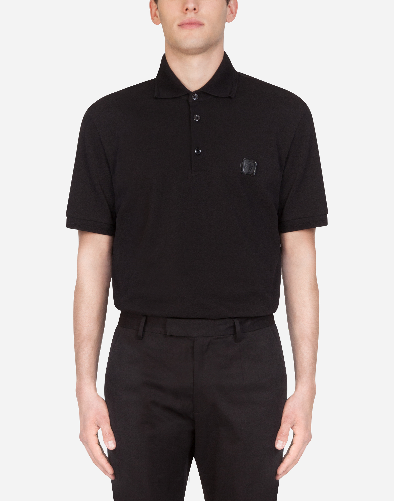Dolce & Gabbana Cotton Piqué Polo Shirt With Branded Plate In Black