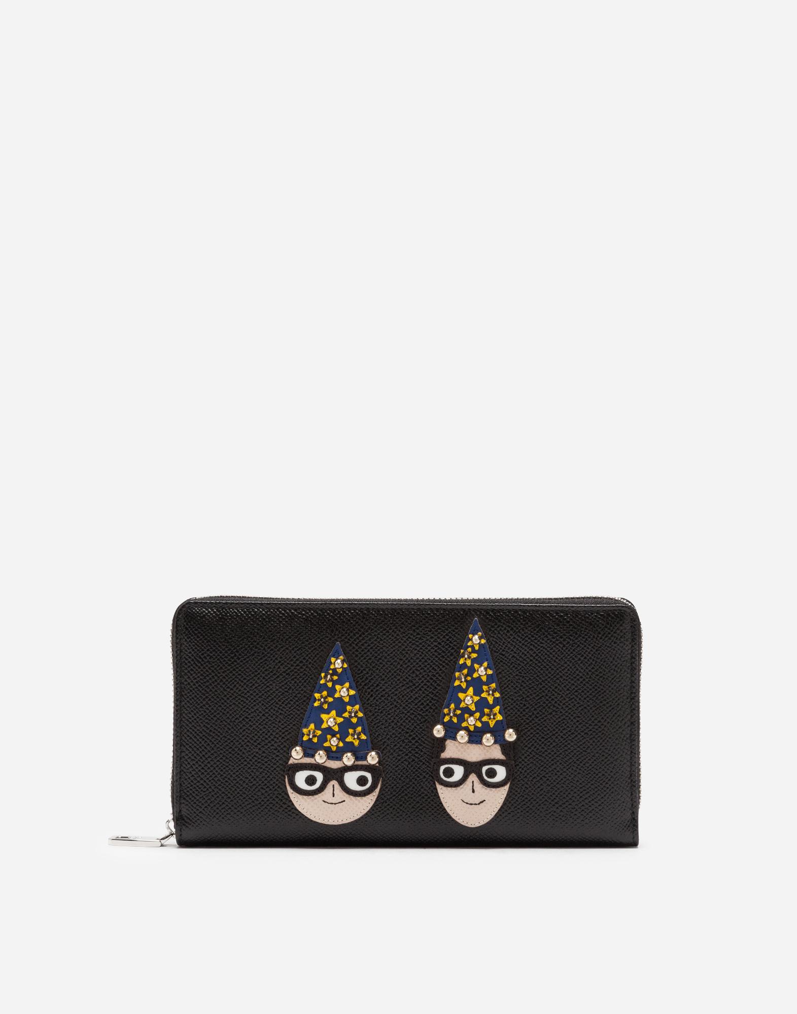 Dolce & Gabbana ZIP-AROUND WALLET IN DAUPHINE CALFSKIN WITH DESIGNERS' PATCHES