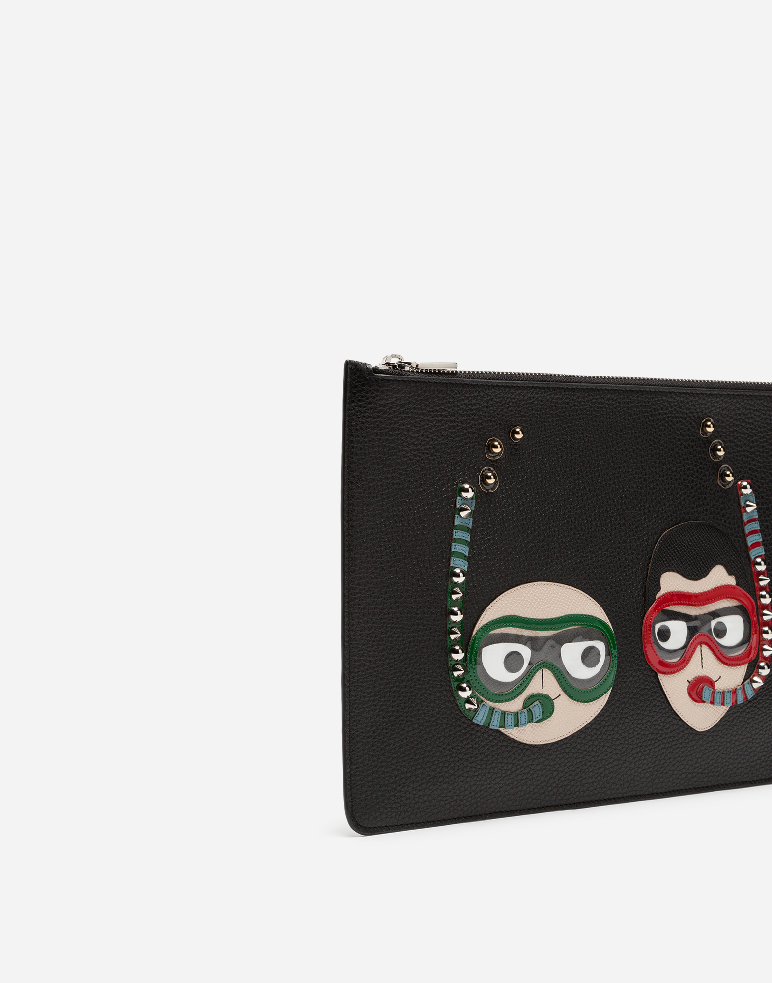 Dolce&Gabbana CALFSKIN DOCUMENT HOLDER WITH EMBROIDERED PATCHES OF THE DESIGNERS