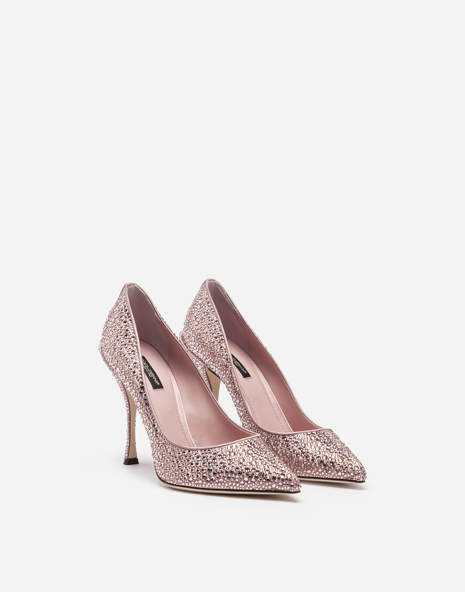 Dolce&Gabbana PUMPS IN SATIN AND CRYSTAL