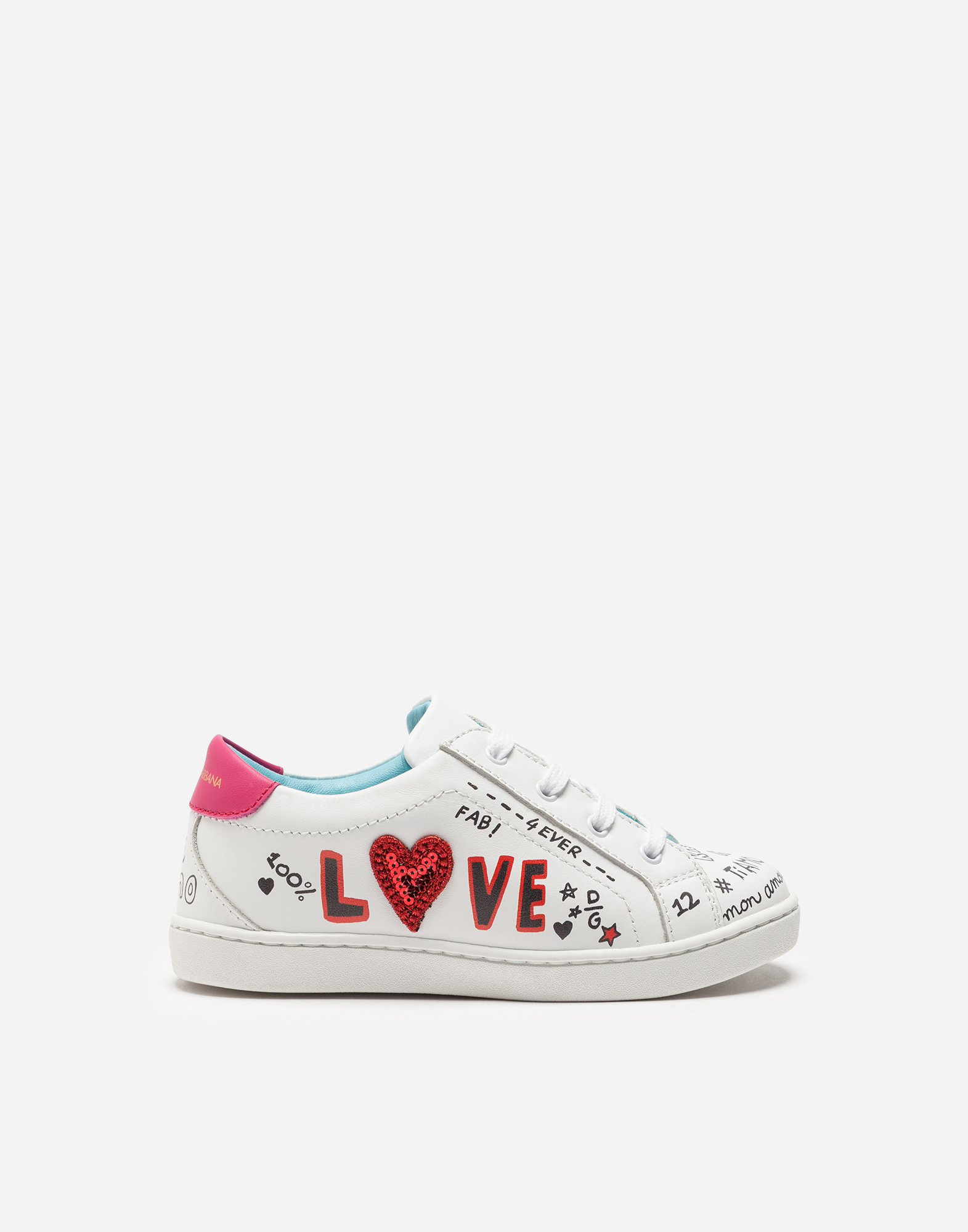 Dolce&Gabbana LEATHER SNEAKERS WITH PATCH