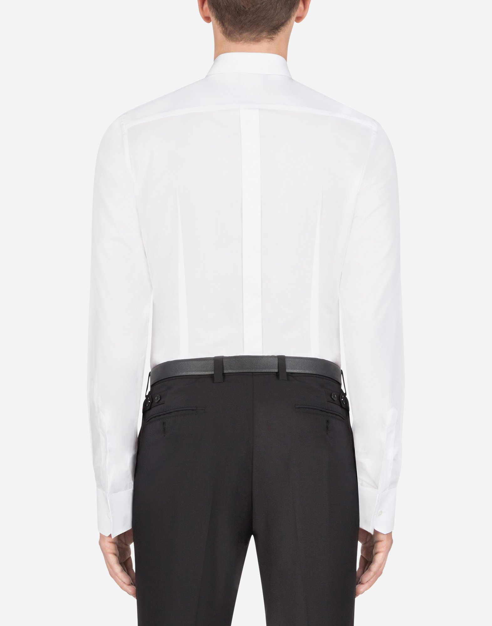 Dolce & Gabbana GOLD FIT SHIRT IN COTTON WITH PATCH