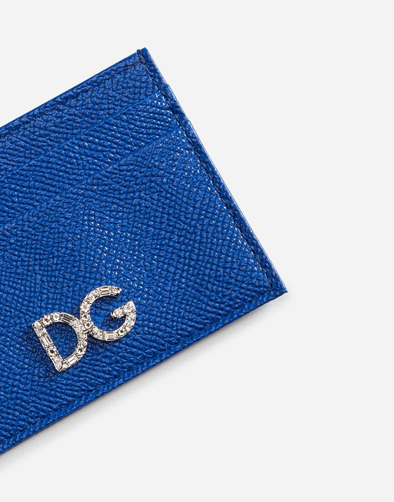 Dolce&Gabbana DAUPHINE CALFSKIN CARD HOLDER WITH DG CRYSTAL LOGO