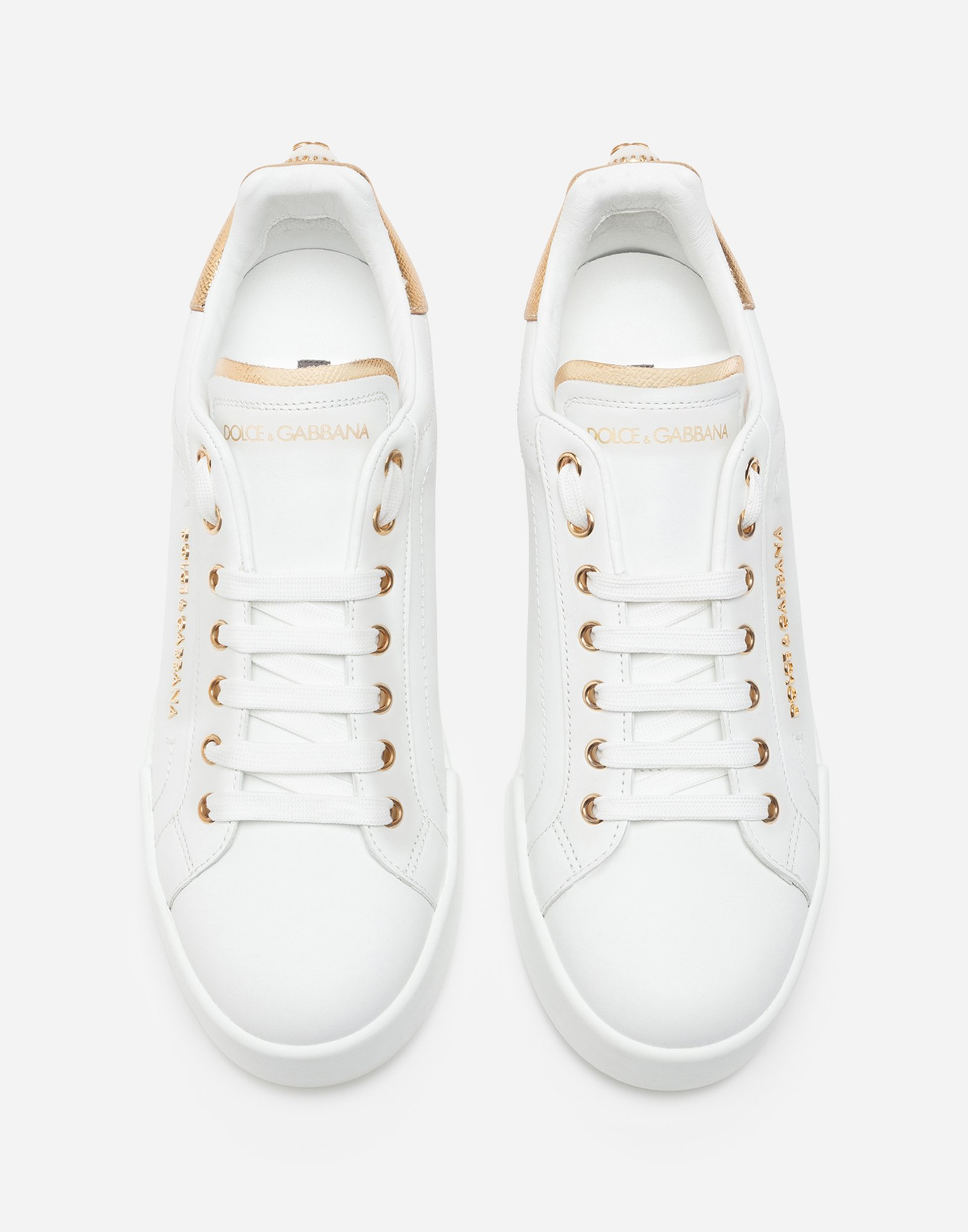 Dolce & Gabbana LEATHER SNEAKERS WITH LOGO BEAD