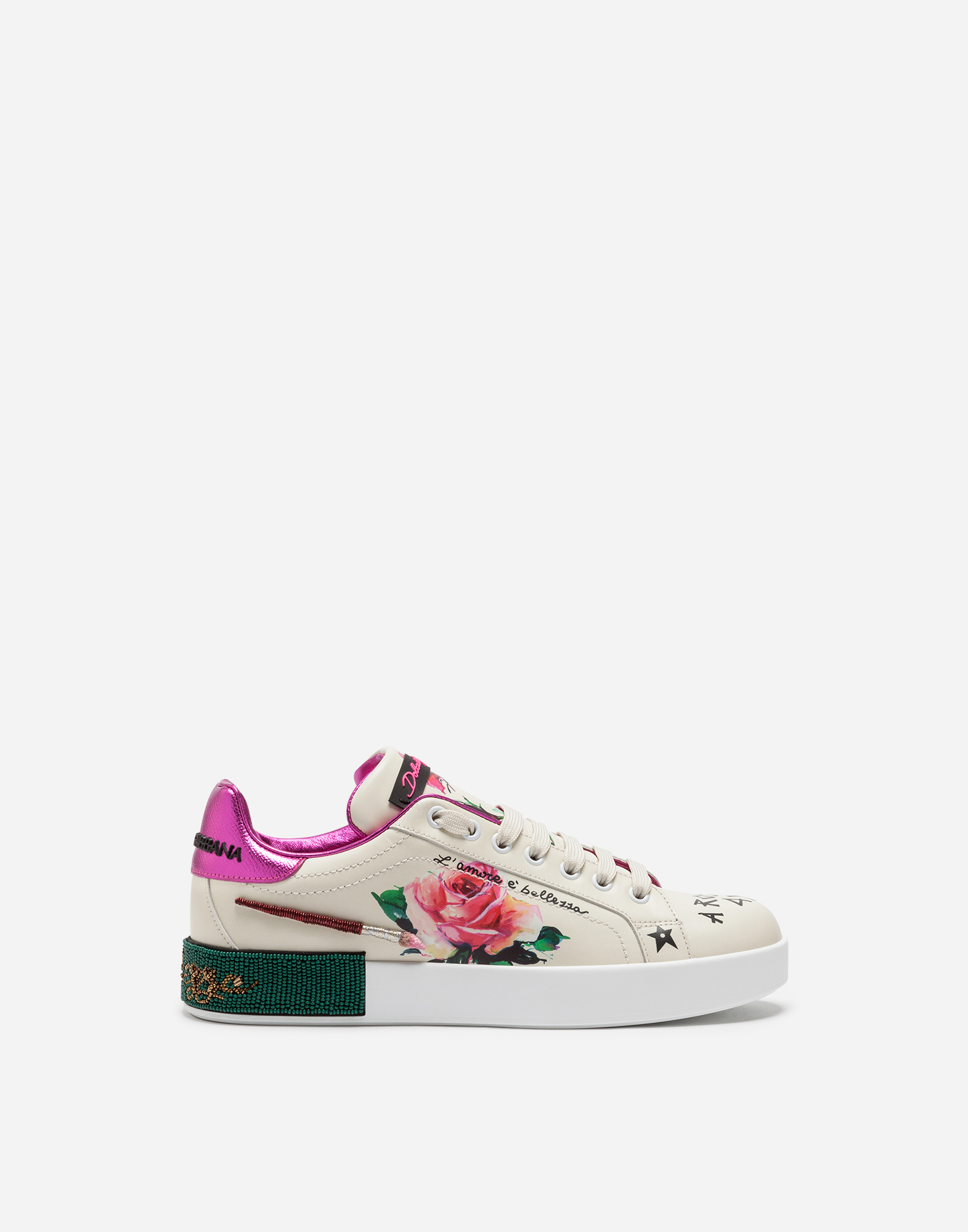 PORTOFINO SNEAKERS IN PRINTED CALFSKIN WITH PATCH AND EMBROIDERY