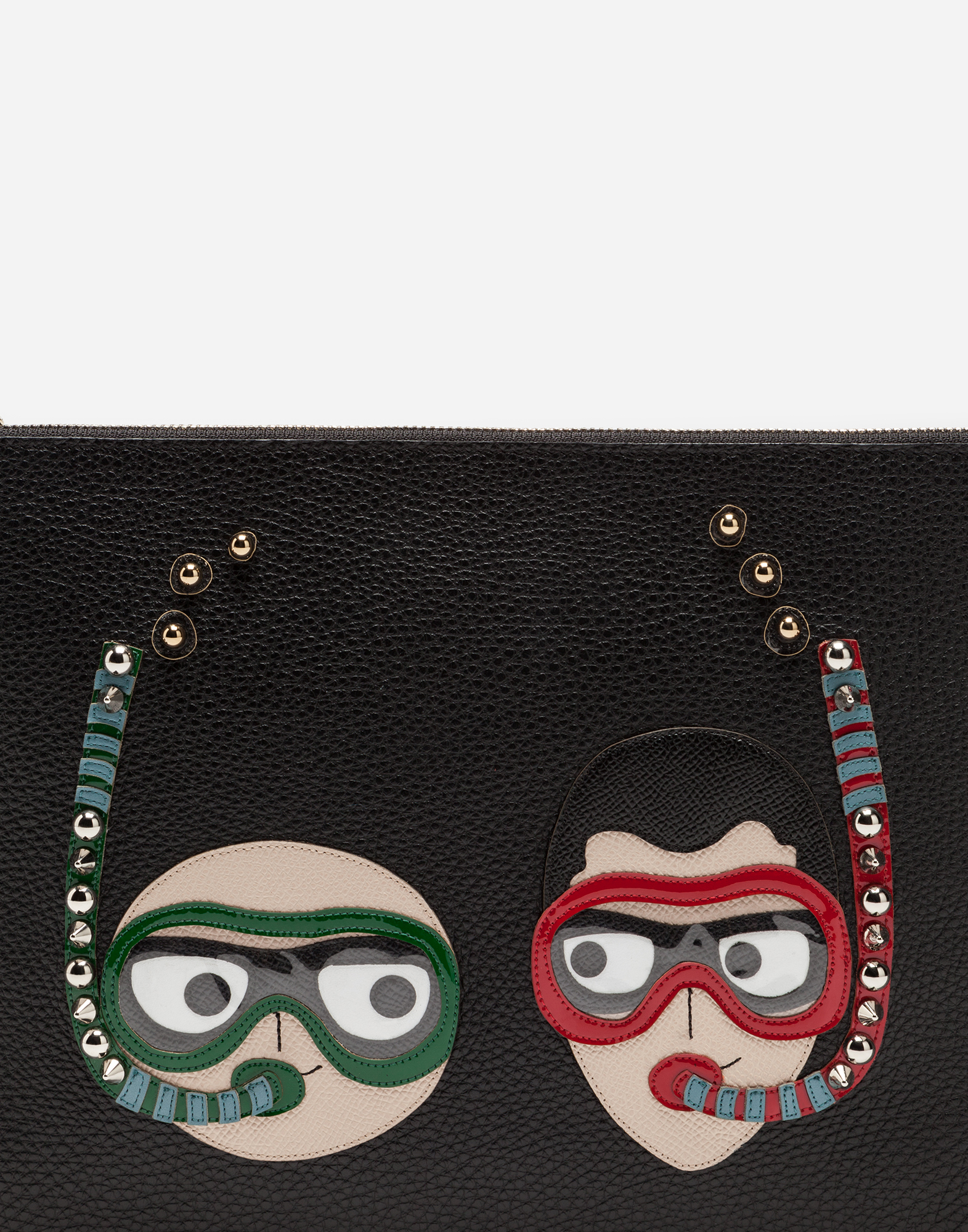 DAUPHINE CALFSKIN CLUTCH WITH PATCHES OF THE DESIGNERS