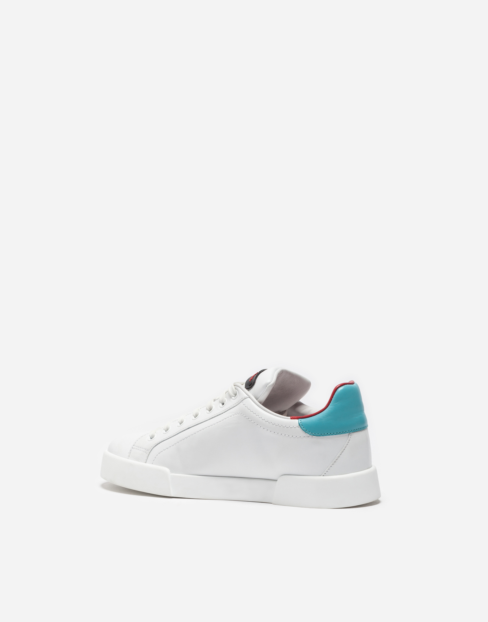 Dolce & Gabbana LEATHER PORTOFINO SNEAKERS WITH PATCH