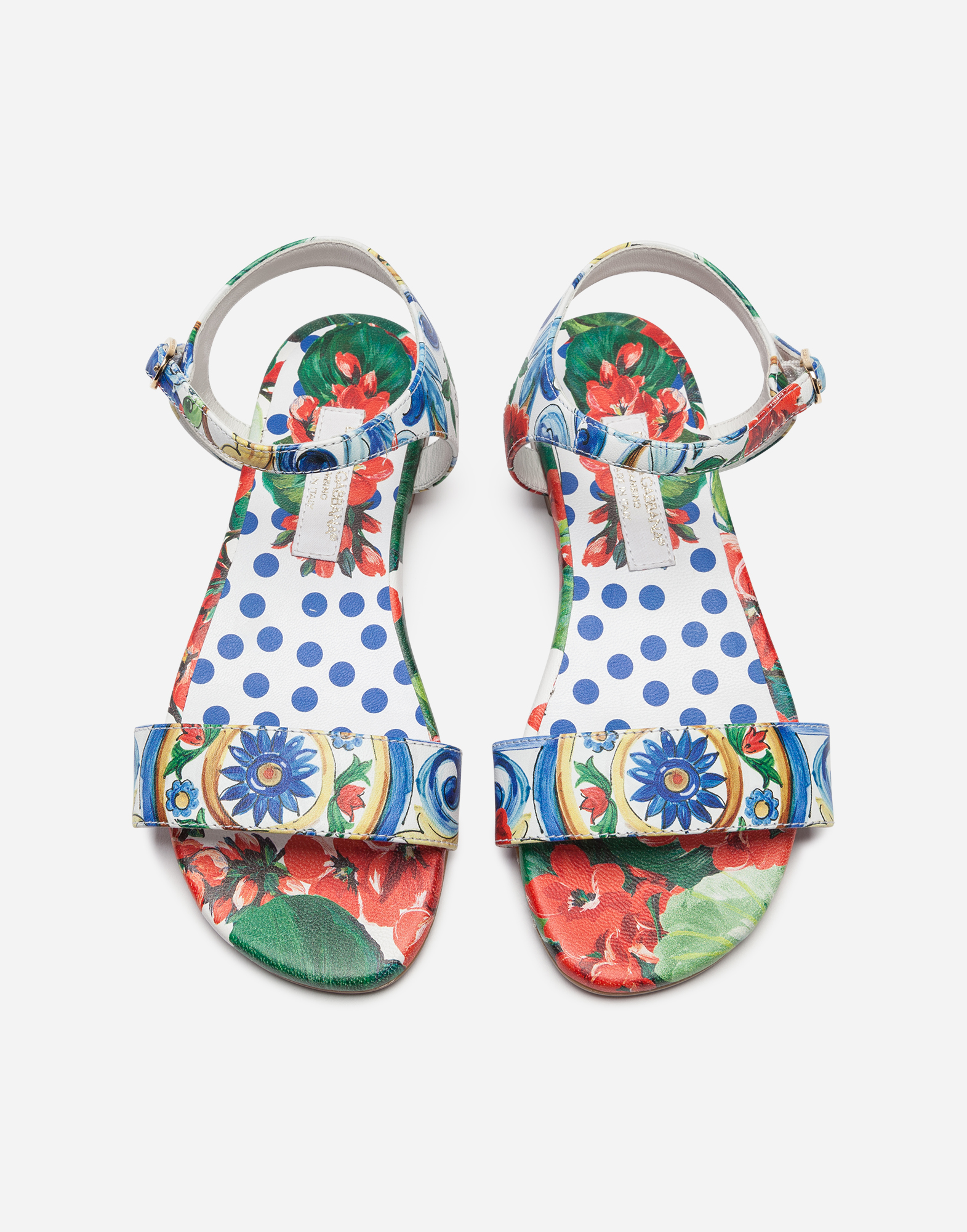 Dolce & Gabbana ANKLE-STRAP SANDALS IN PRINTED NAPPA LEATHER