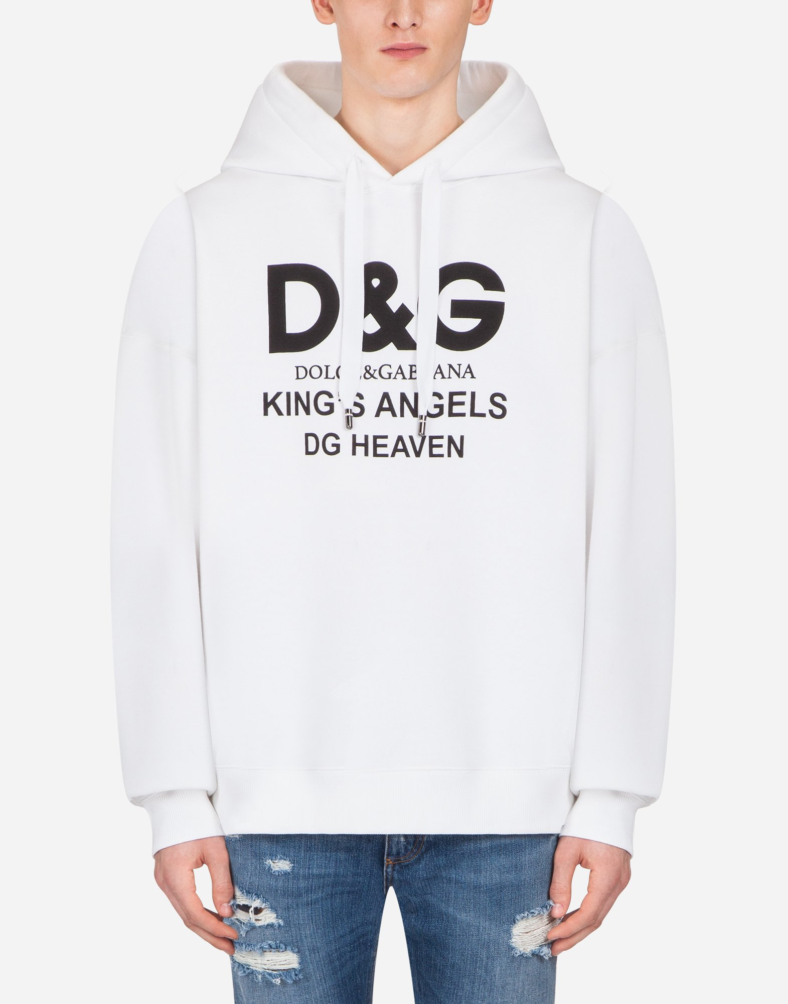Dolce & Gabbana PRINTED COTTON SWEATSHIRT WITH HOOD