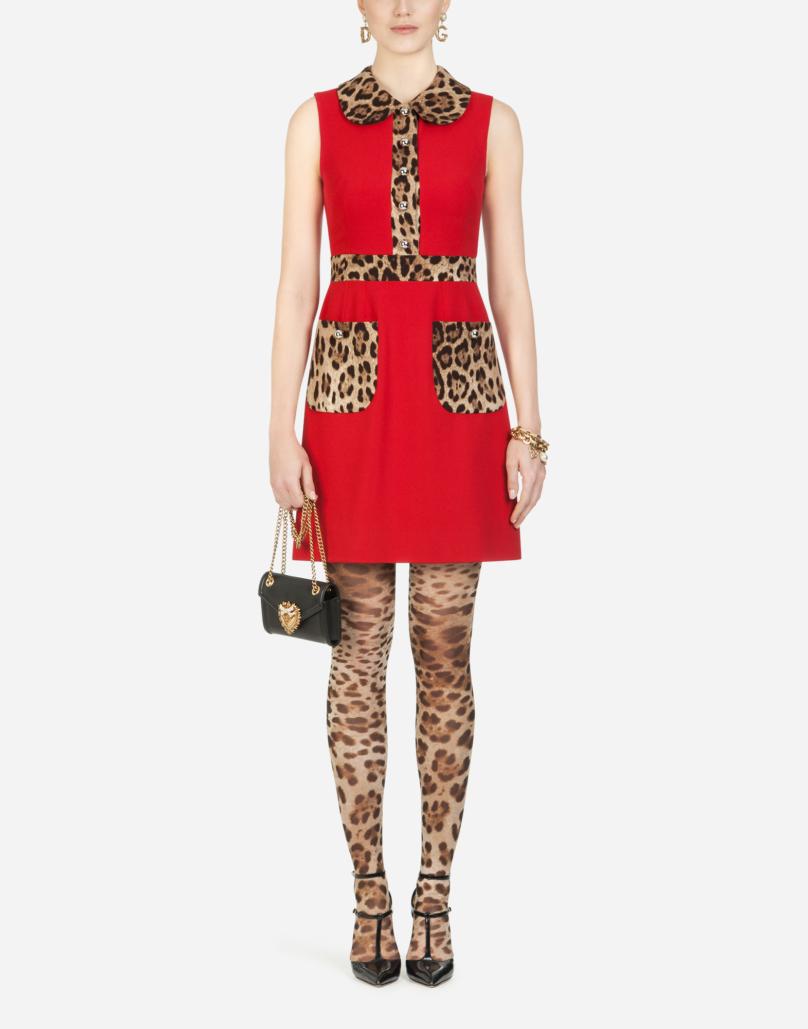 Short Cady Dress With Leopard-Print Details