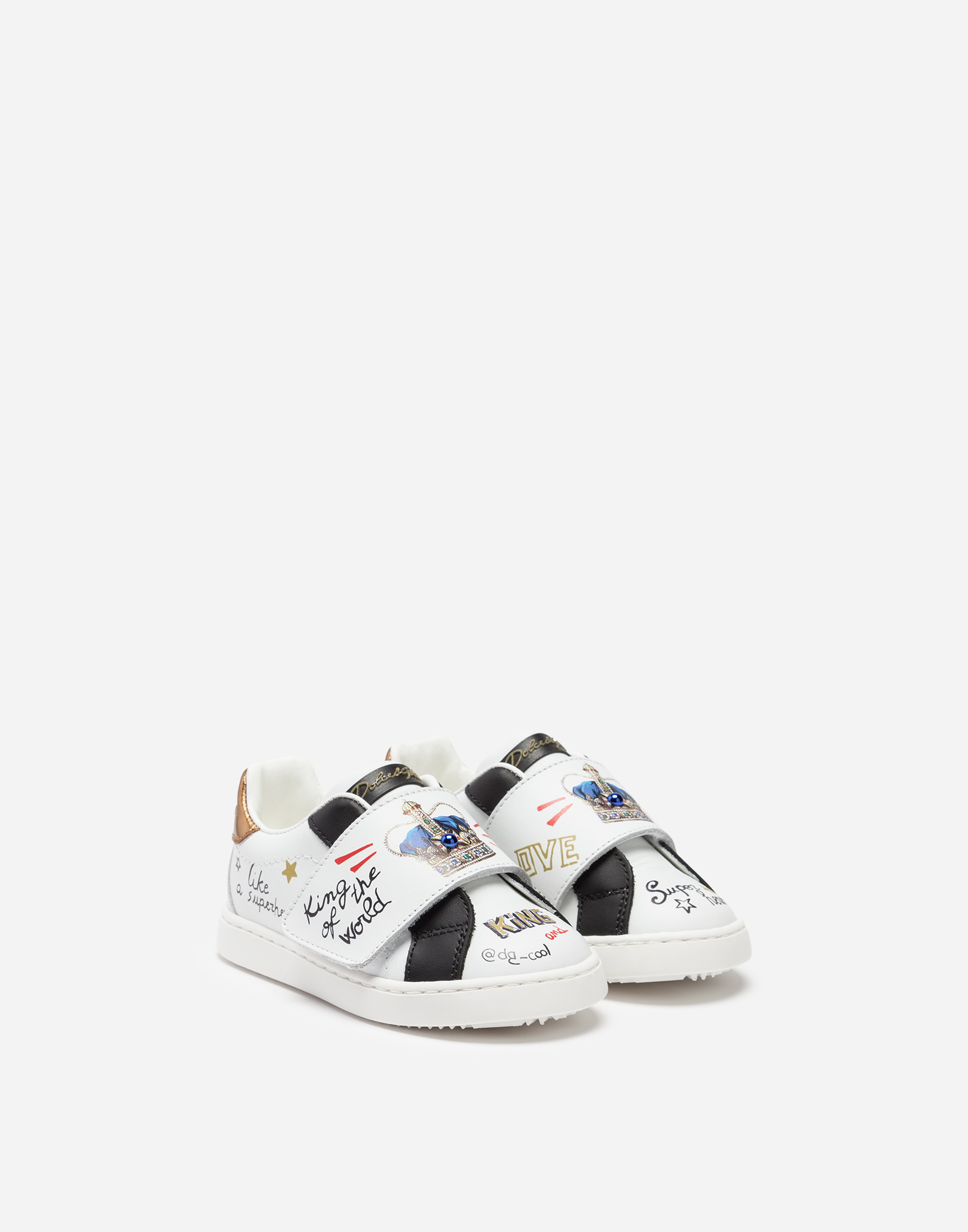 Dolce & Gabbana FIRST STEPS PORTOFINO PRINTED SNEAKERS