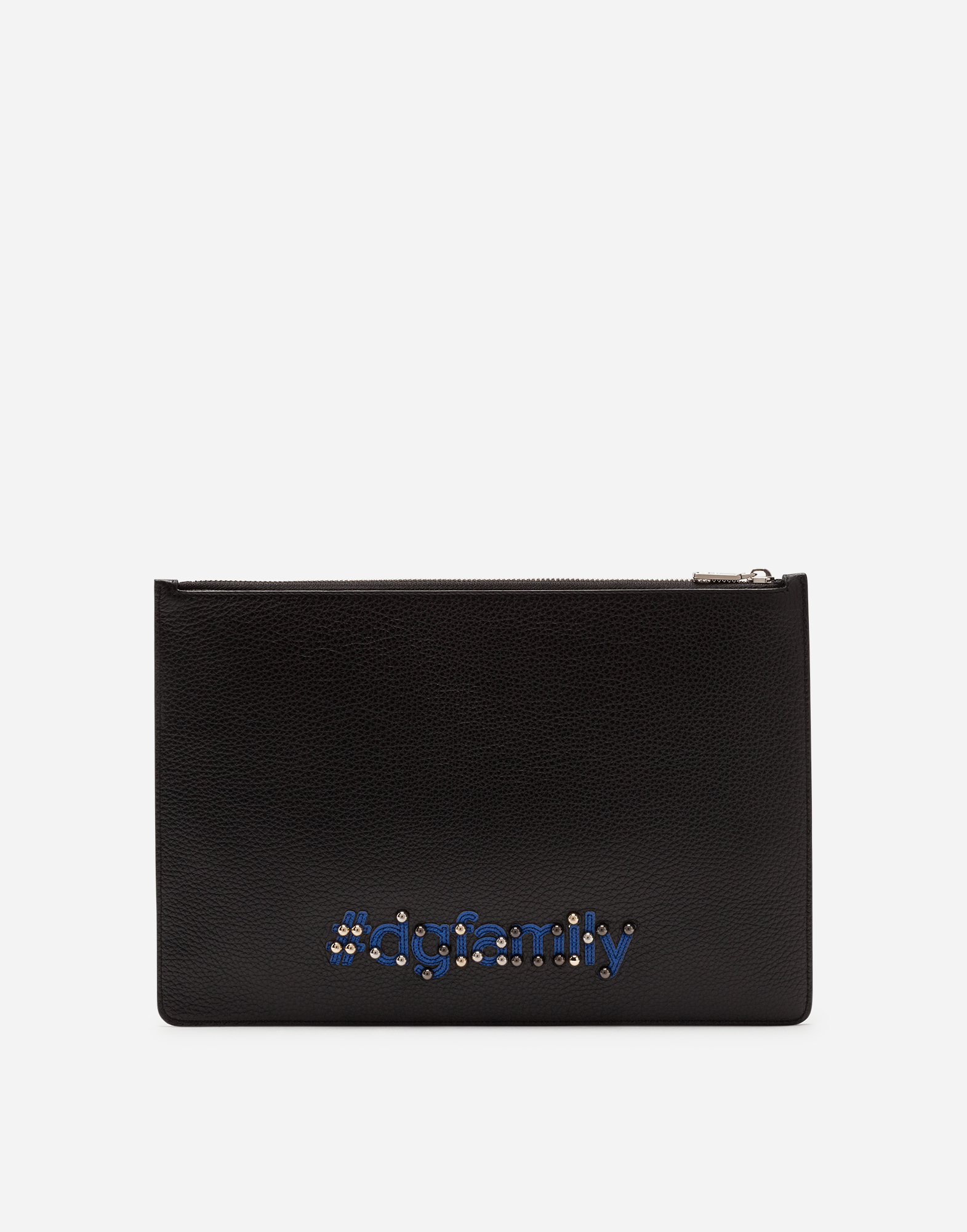 Dolce&Gabbana DOCUMENT HOLDER IN CALFSKIN WITH DESIGNERS' PATCH EMBROIDERY