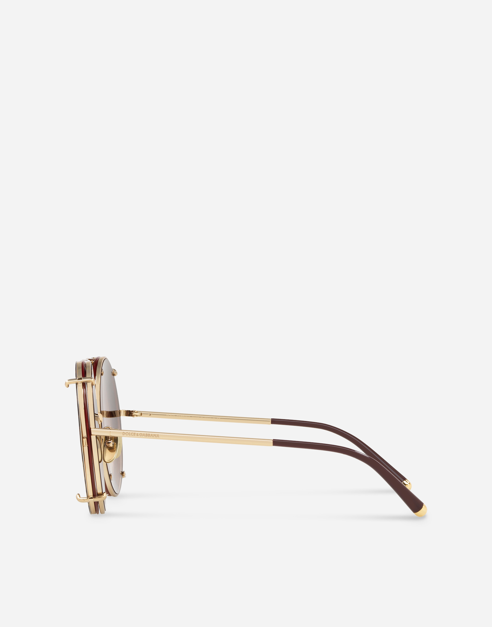 ROUND SUNGLASSES IN GOLD METAL WITH CLIP-ONS IN LEO PRINT