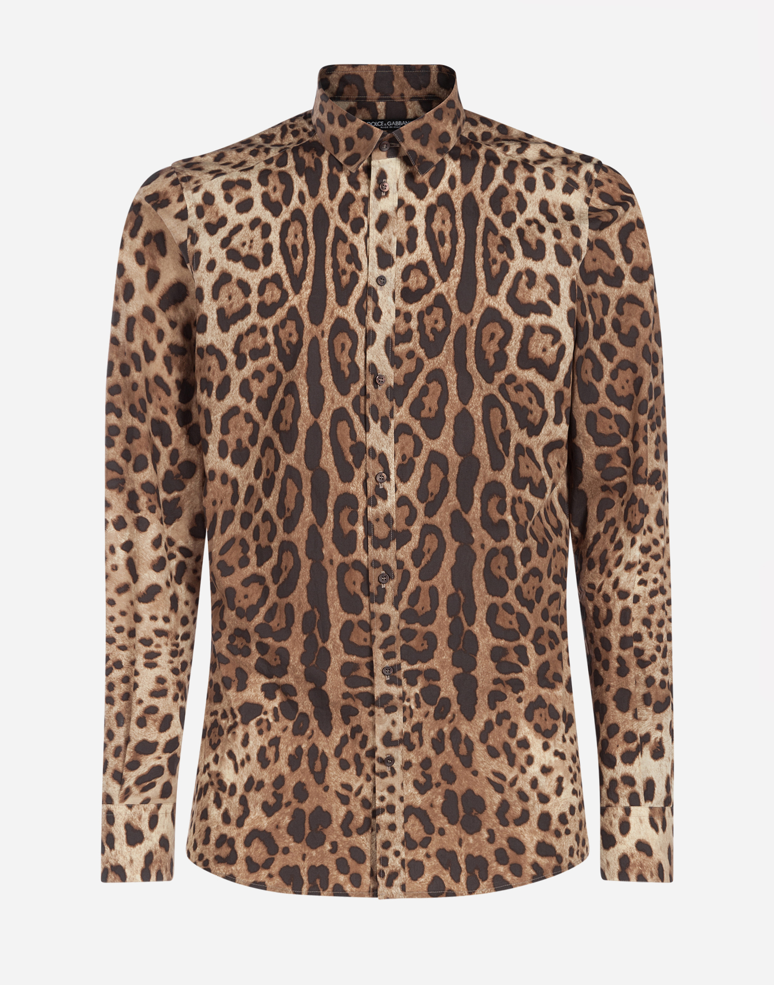 Dolce&Gabbana CAPRI FIT SHIRT IN LEOPARD PRINT COTTON