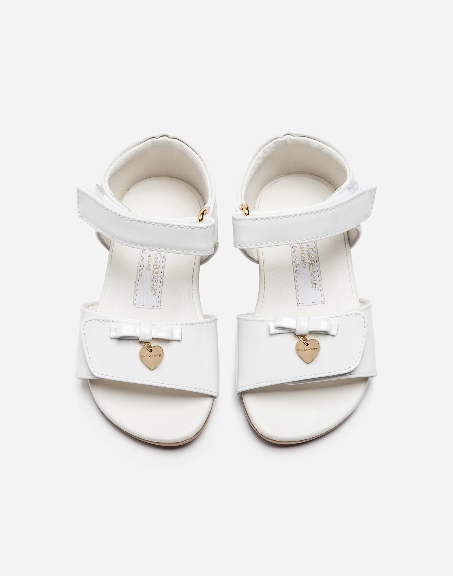 Dolce&Gabbana FIRST STEPS SANDALS IN PATENT LEATHER WITH BOW