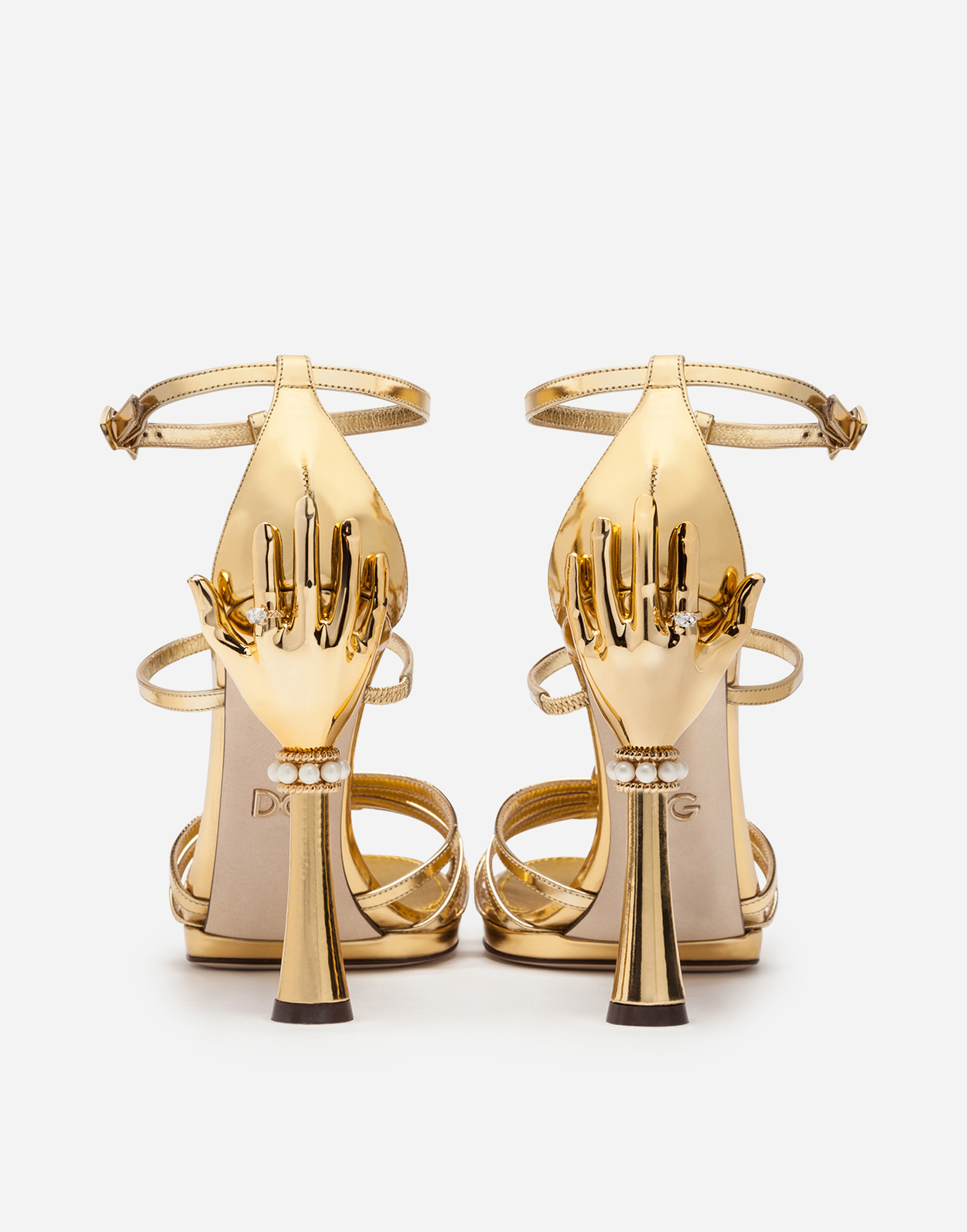 Dolce & Gabbana SANDAL IN MIRRORED PATENT LEATHER WITH SCULPTED HEEL