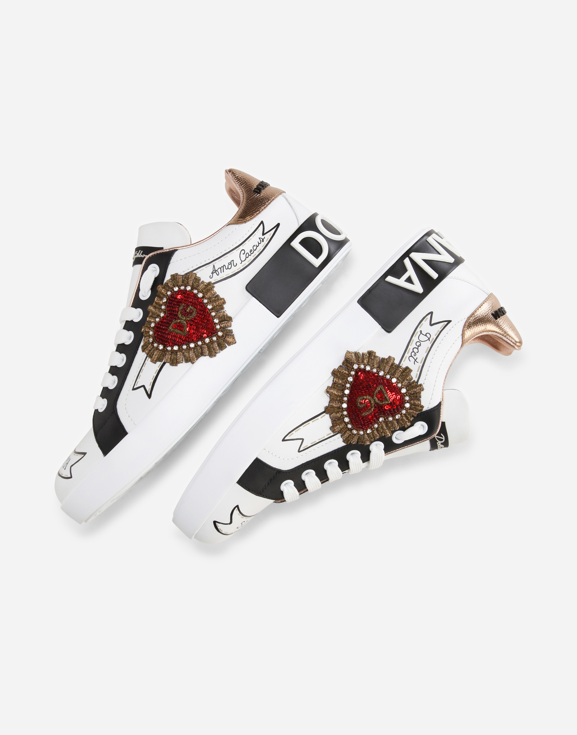 Dolce & Gabbana PORTOFINO SNEAKERS IN NAPPA CALFSKIN WITH DESIGNERS' PATCHES