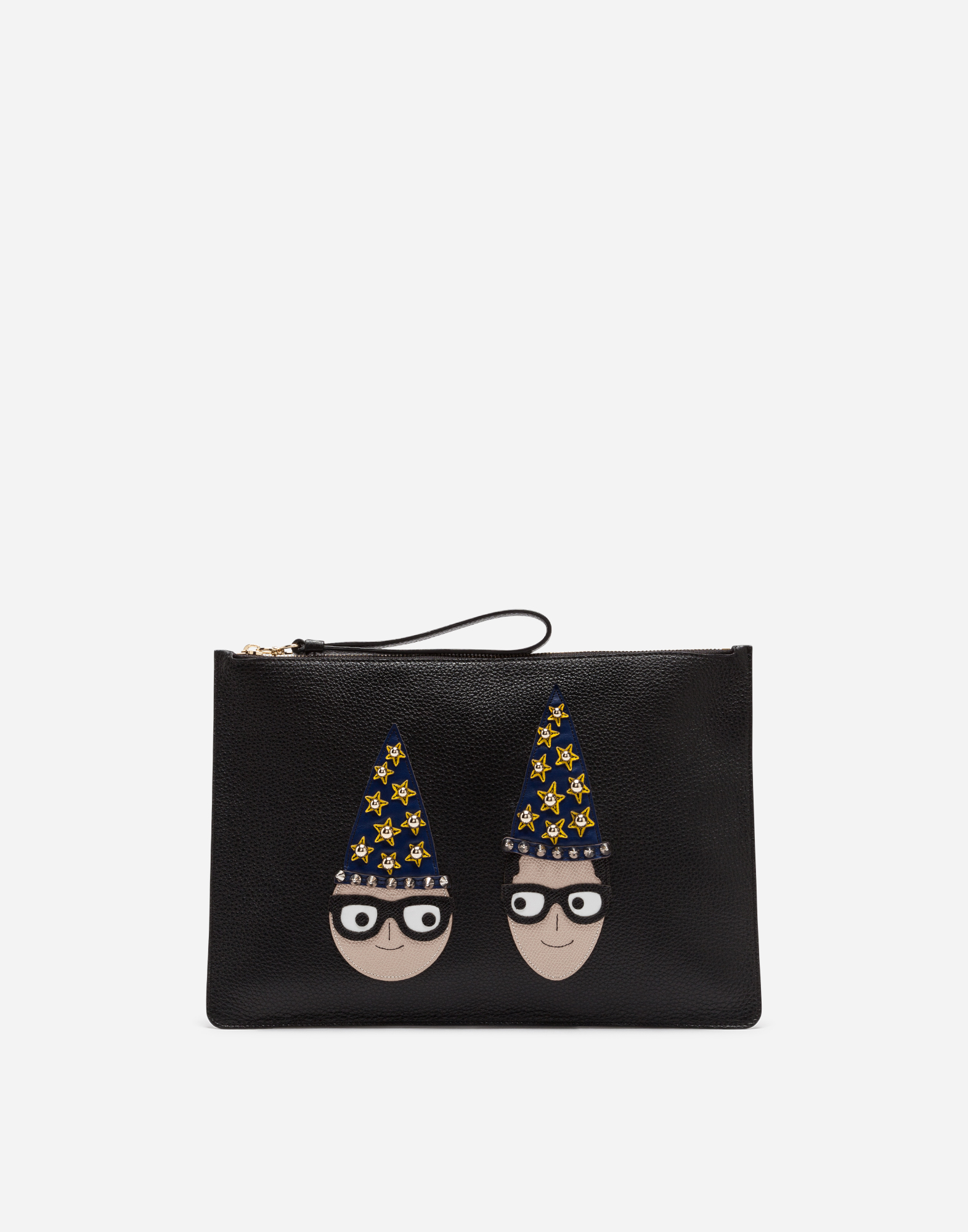 Dolce&Gabbana DAUPHINE CALFSKIN CLUTCH WITH PATCHES OF THE DESIGNERS