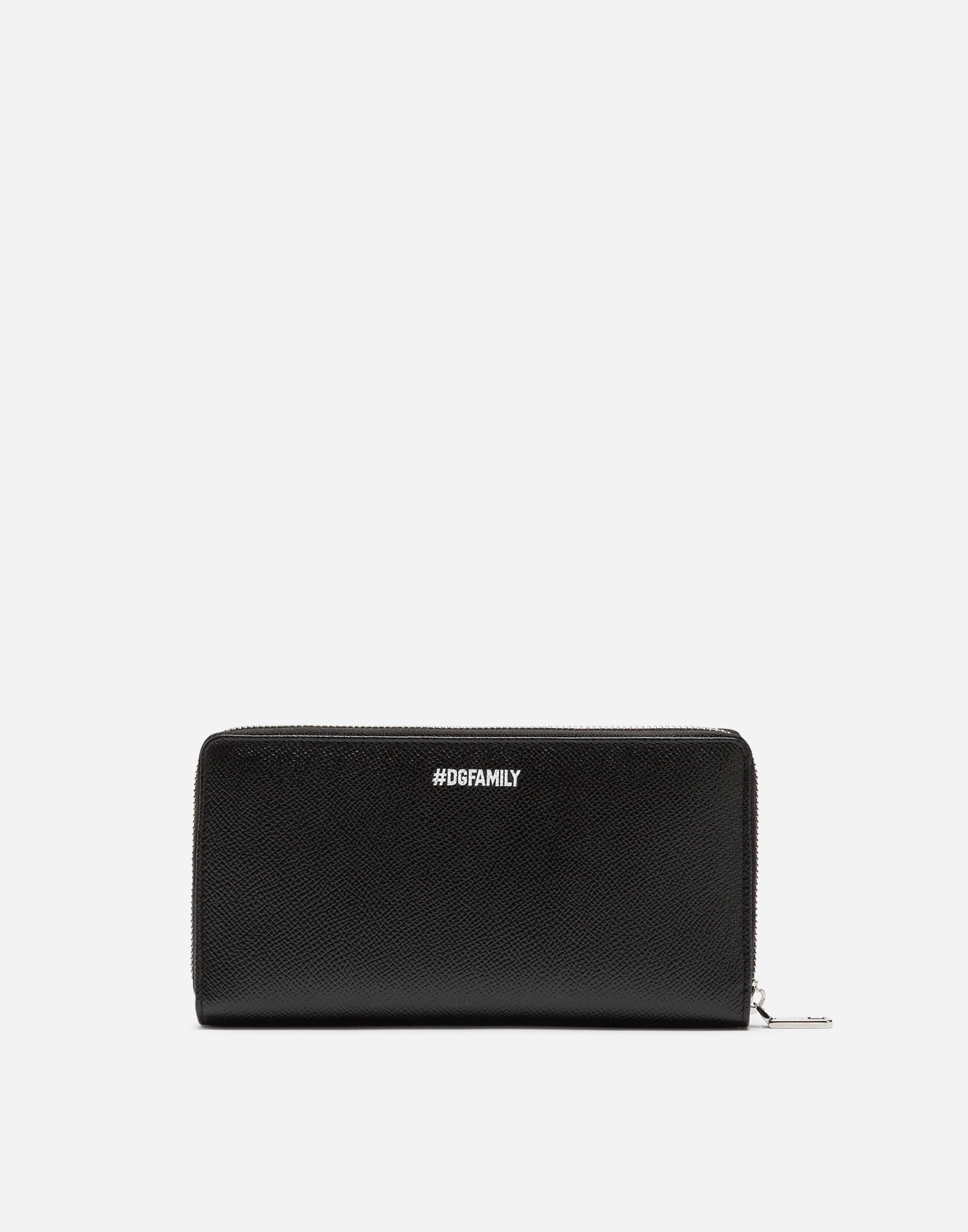 Dolce & Gabbana ZIP-AROUND WALLET IN DAUPHINE CALFSKIN WITH DESIGNERS' PATCHES