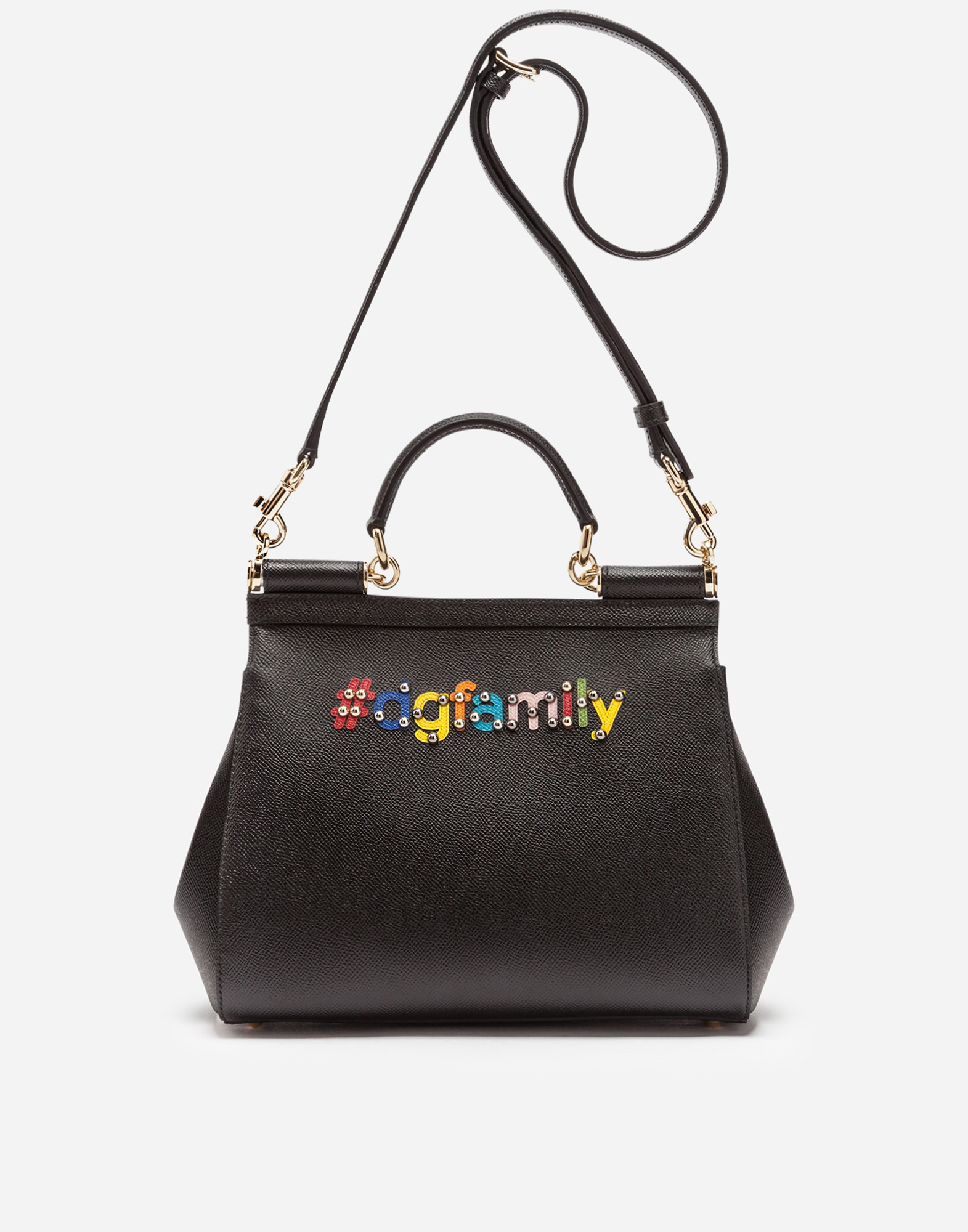 Dolce & Gabbana MEDIUM SICILY BAG IN DAUPHINE CALFSKIN WITH PATCHES OF THE DESIGNERS