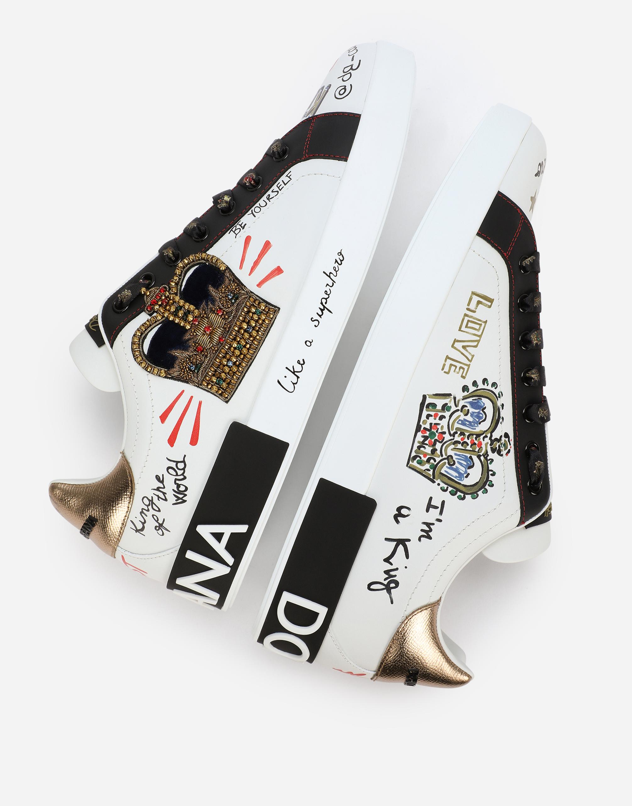 Dolce & Gabbana PORTOFINO SNEAKERS IN PRINTED NAPPA CALFSKIN WITH PATCH