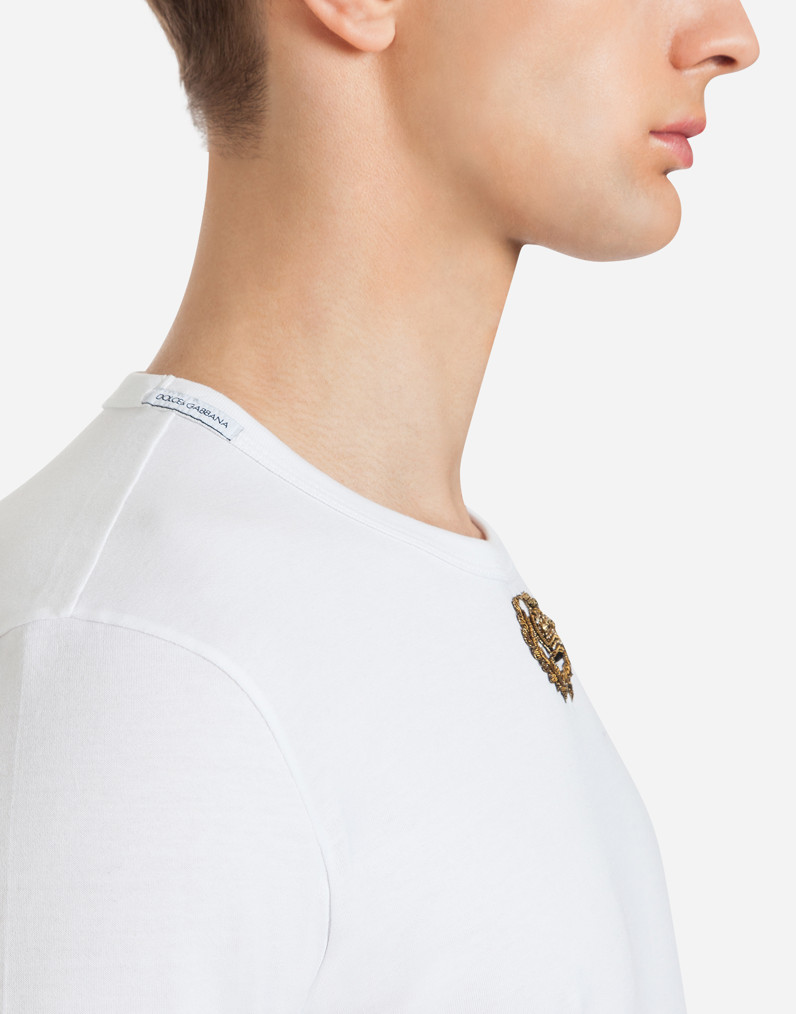 Dolce&Gabbana COTTON T-SHIRT WITH EMBROIDERY