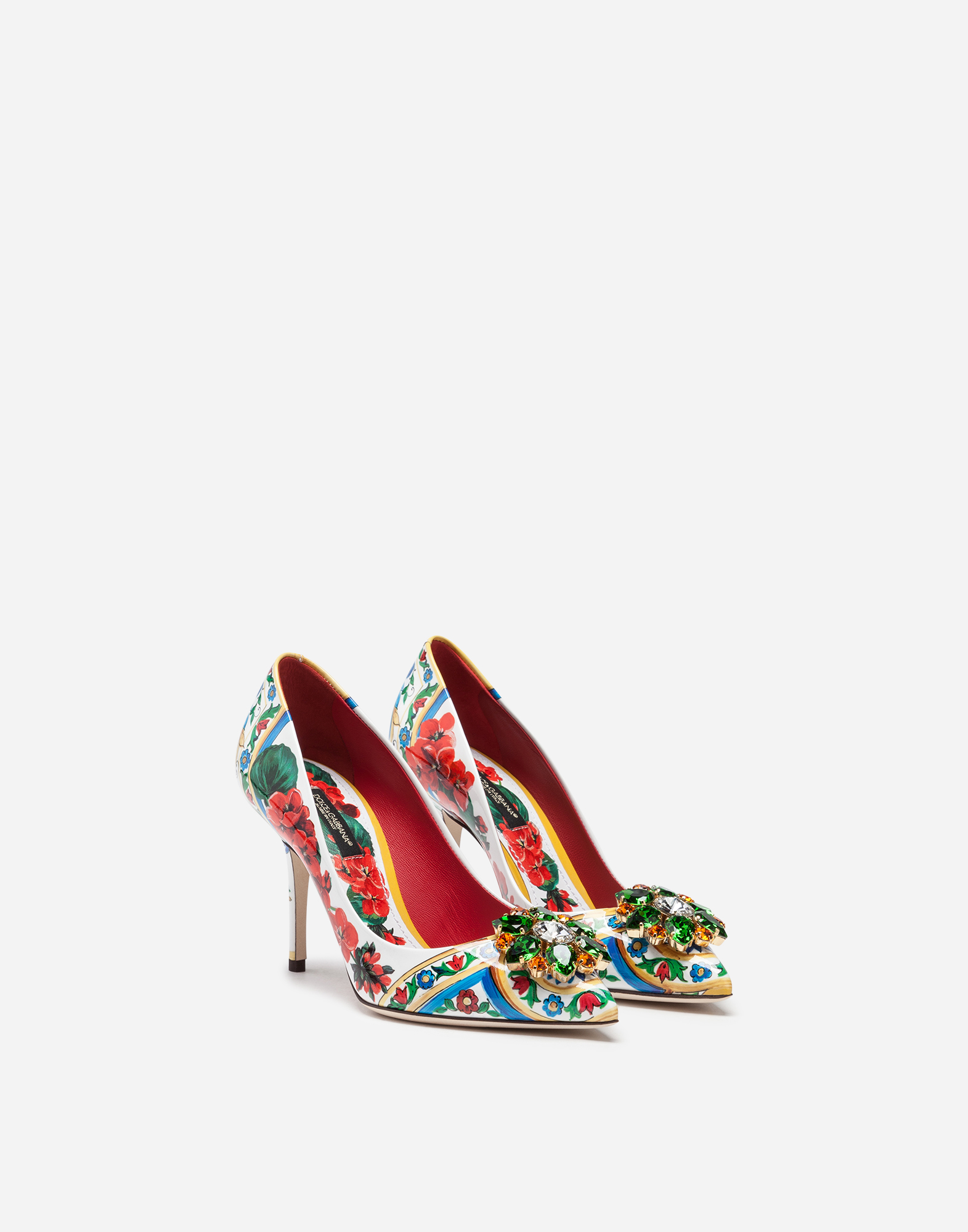 Dolce & Gabbana PRINTED PATENT LEATHER PUMPS WITH BROOCHES
