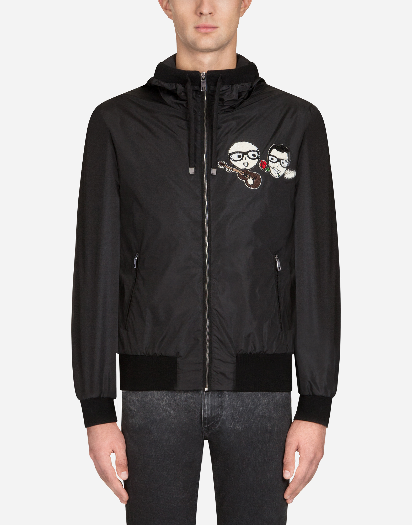 Dolce & Gabbana COTTON SWEATSHIRT WITH DESIGNERS' PATCHES AND HOOD