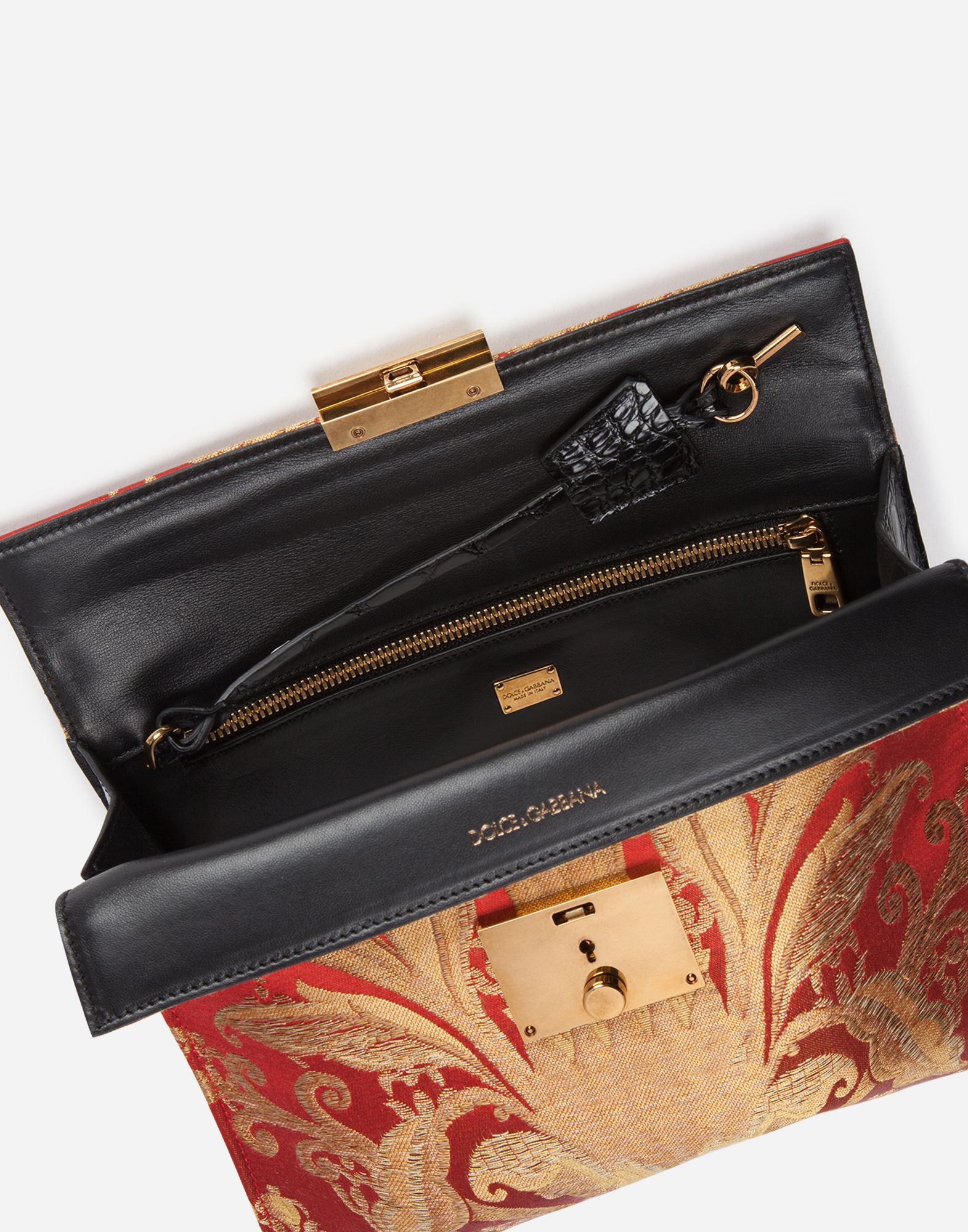 Dolce&Gabbana DOCUMENT HOLDER IN BROCADE AND CROCODILE SIDES