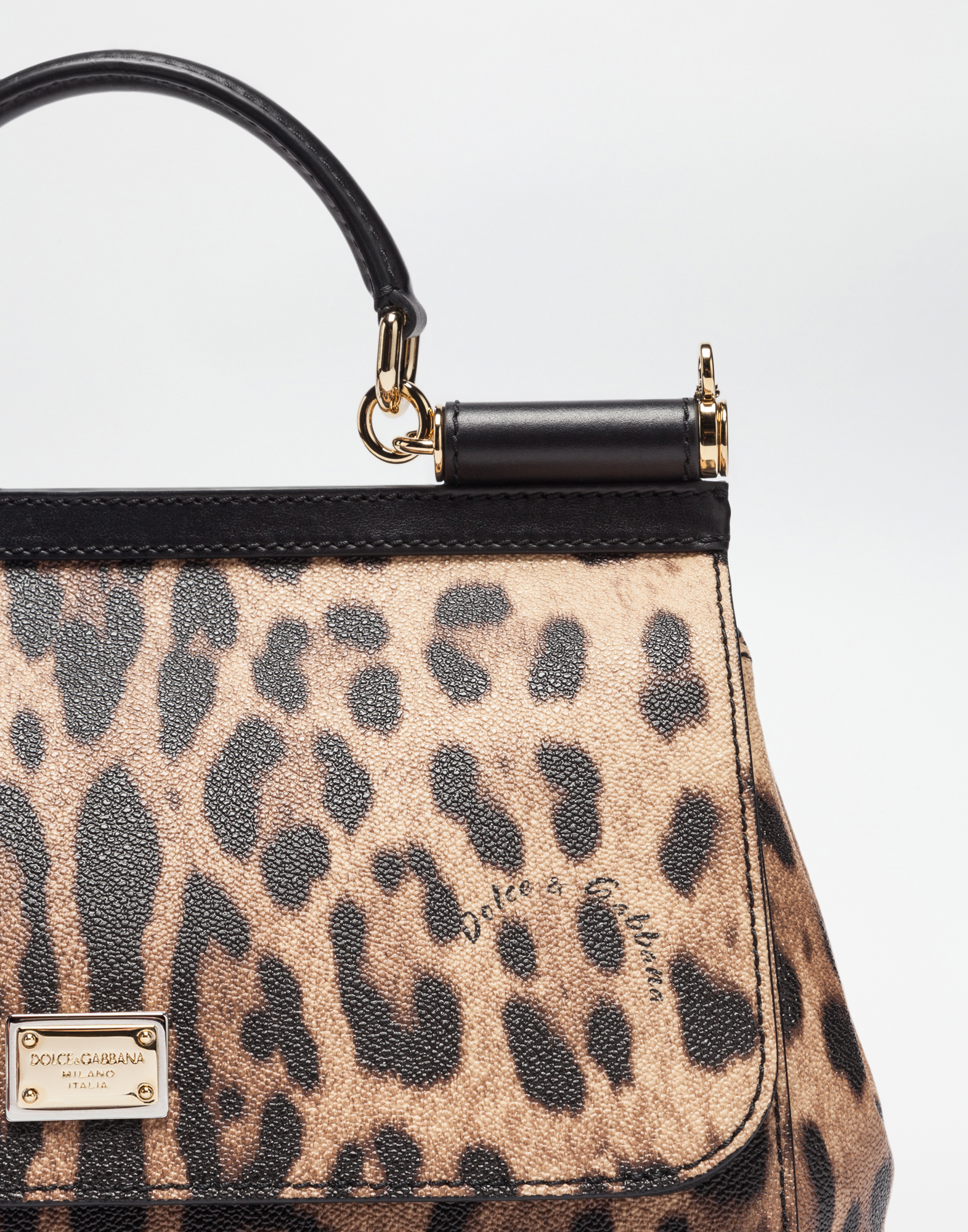 10a03b3de4b Regular Sicily Bag In Leopard Textured Leather - Women   Dolce Gabbana