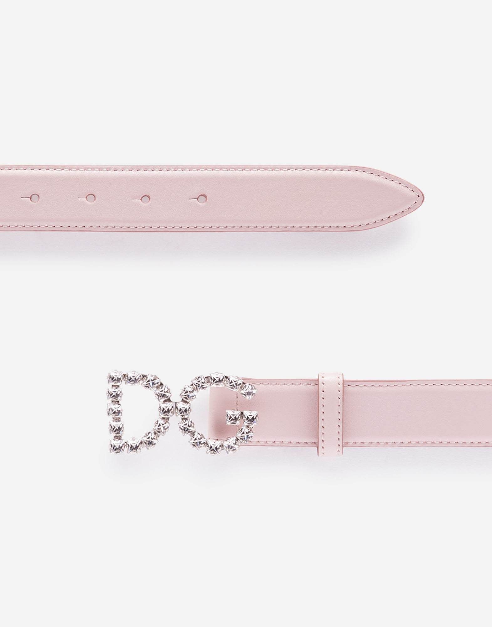 CALFSKIN BELT WITH DG CRYSTAL LOGO BUCKLE