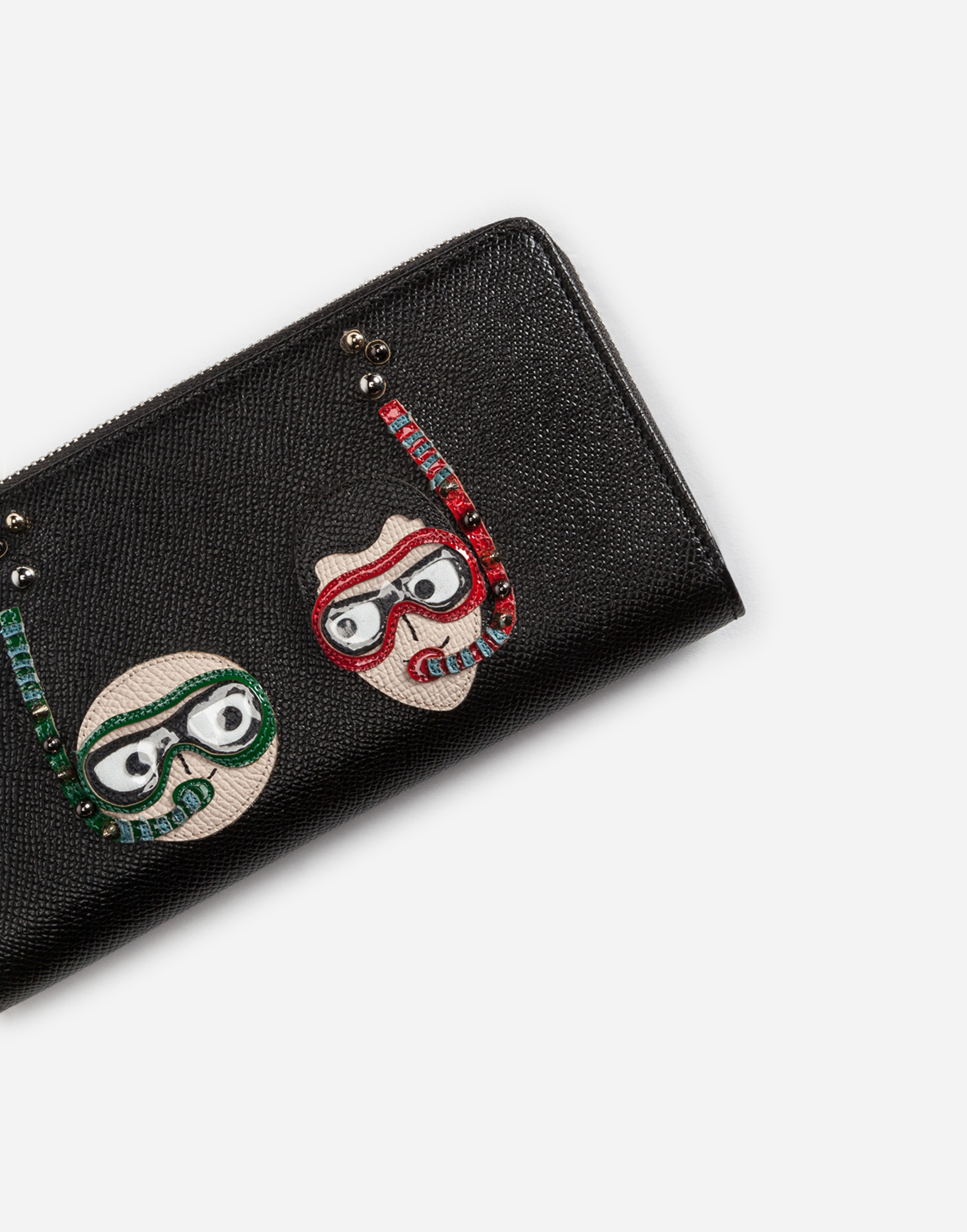 ZIP-AROUND DAUPHINE CALFSKIN WALLET WITH DIVER-STYLE PATCHES OF THE DESIGNERS